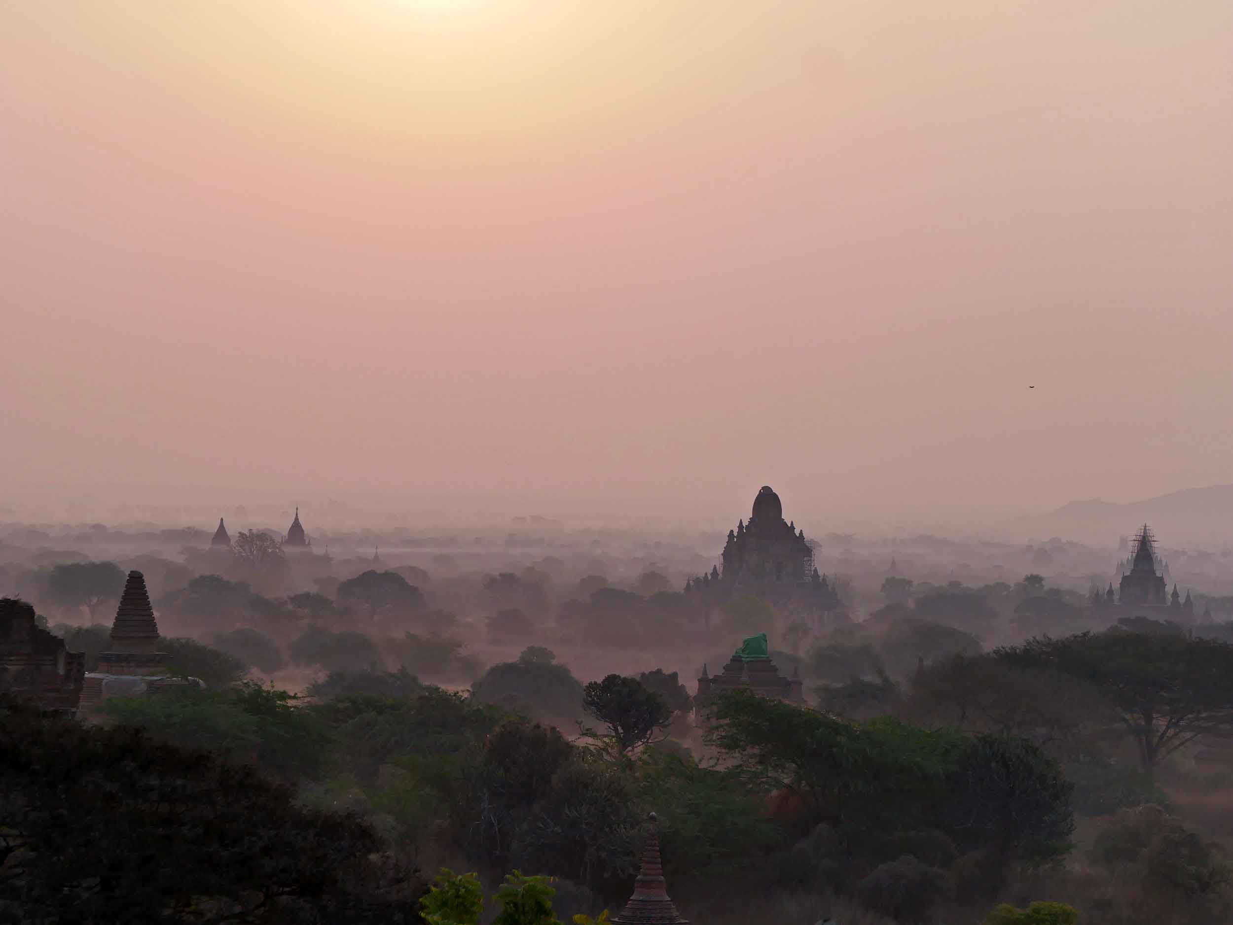A must-do, visitors to Bagan depart early to climb atop crumbling temples and take in the majesty of sunrise (Feb 15).