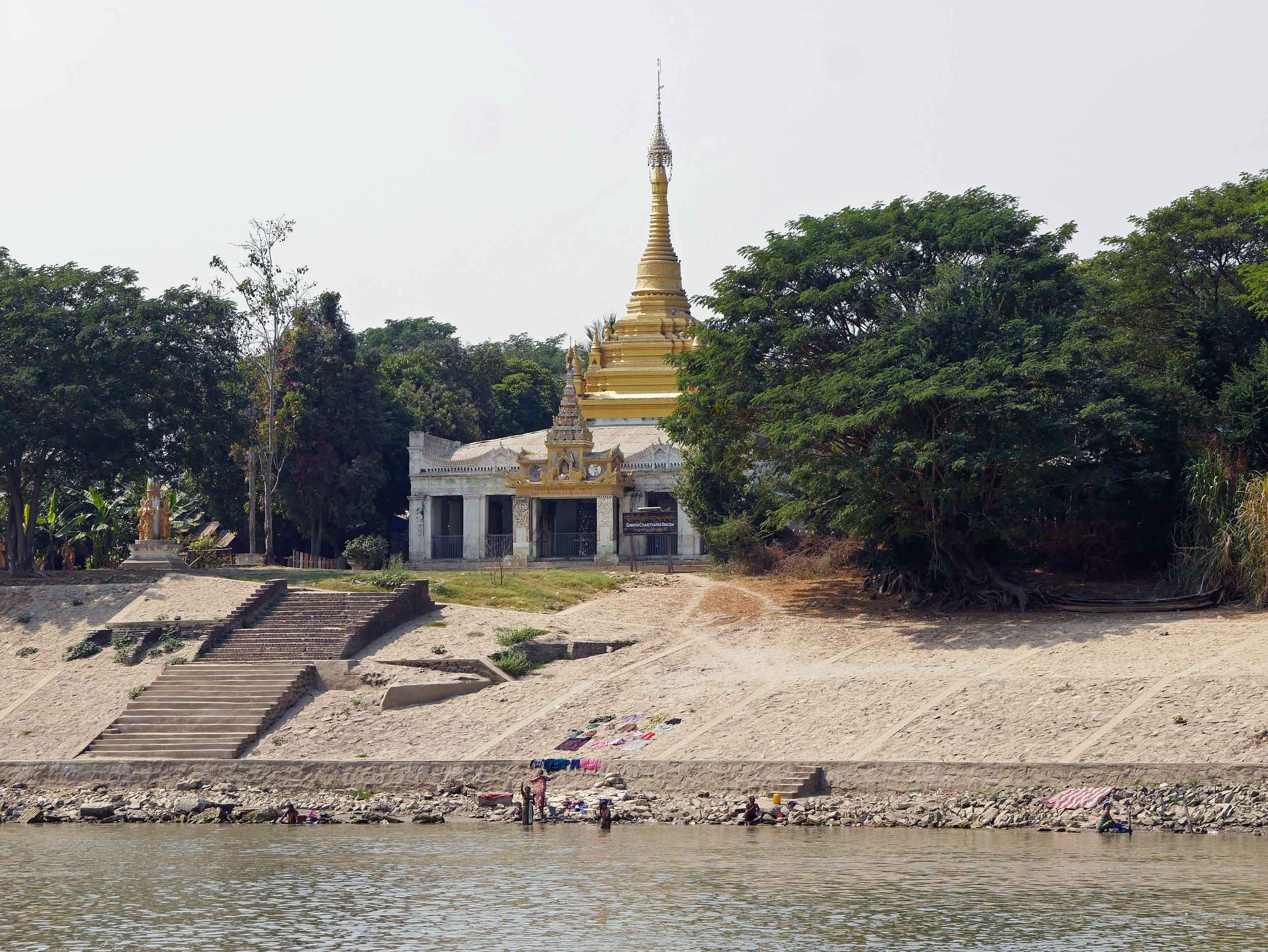 Many glittering pagodas dot the shoreline and hills along the River (Feb 17).