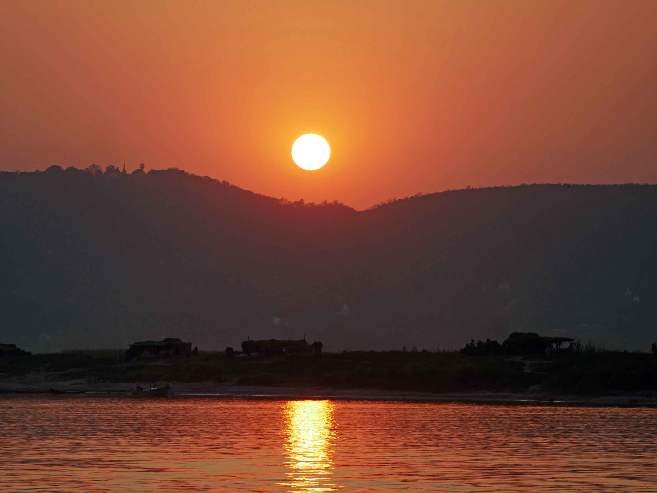 In this golden land, the Irrawaddy provides an excellent location to take in sunset (Feb 17).