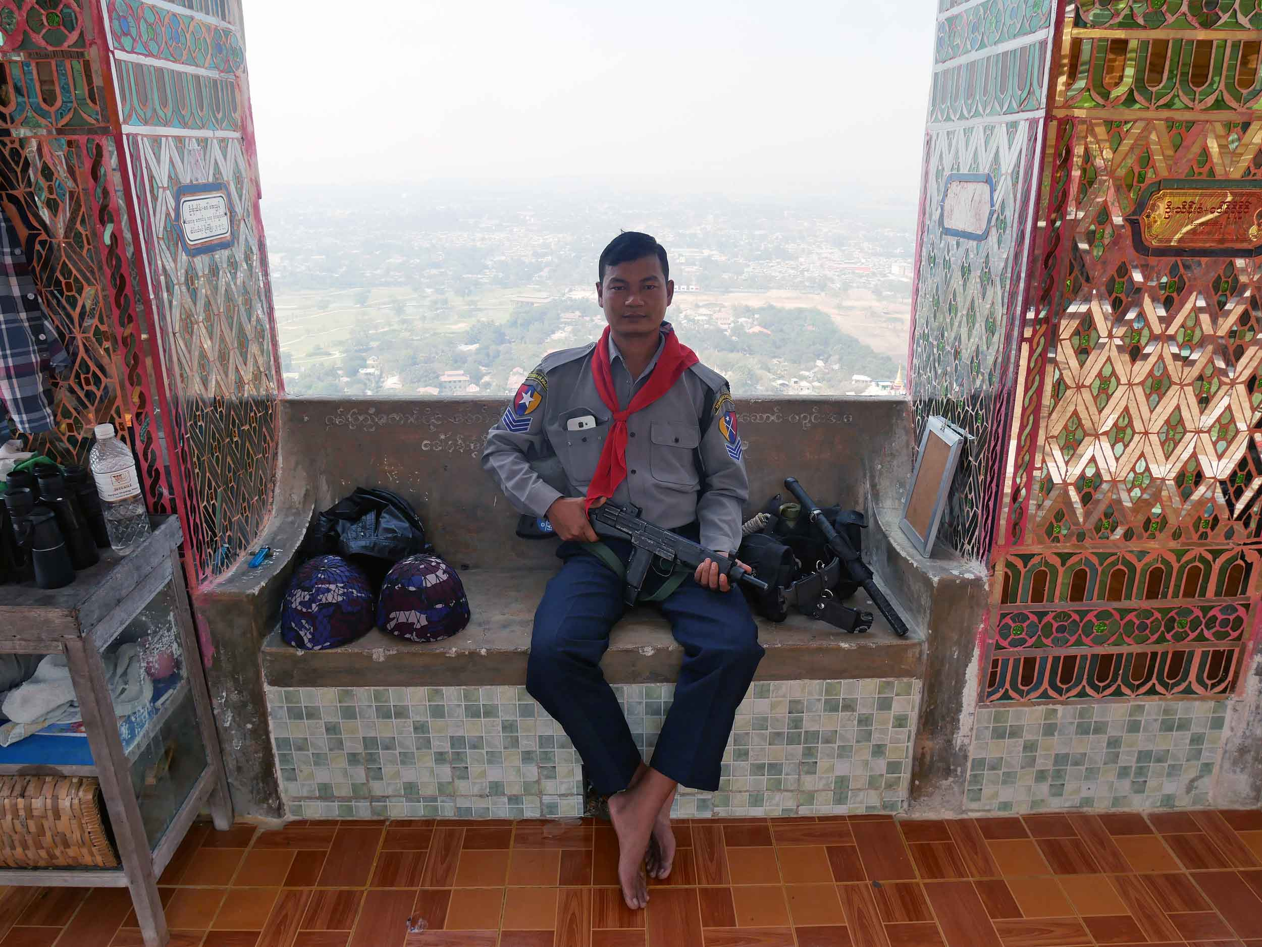 At the top, local officers took a break and also enjoyed the view (Feb 18).