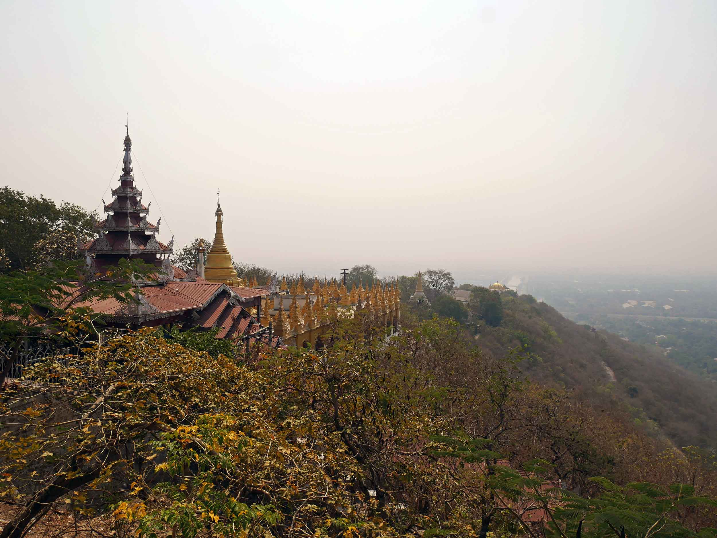 A hot, hazy day shrouded the panoramic view on top of Mandalay Hill (Feb 18).