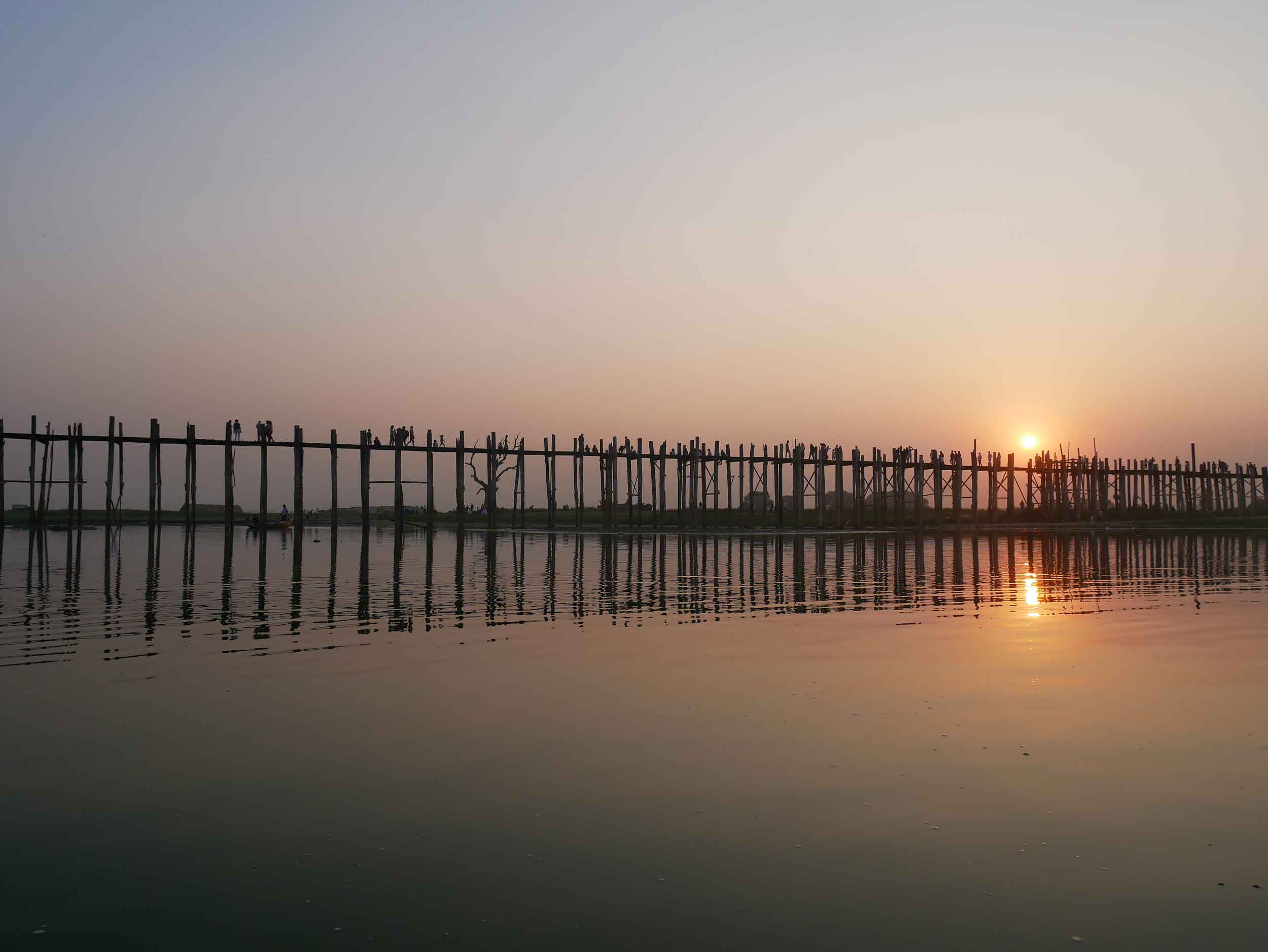 A short taxi from Mandalay, historic U-Bein Bridge is as shaky as it looks (Feb 18).