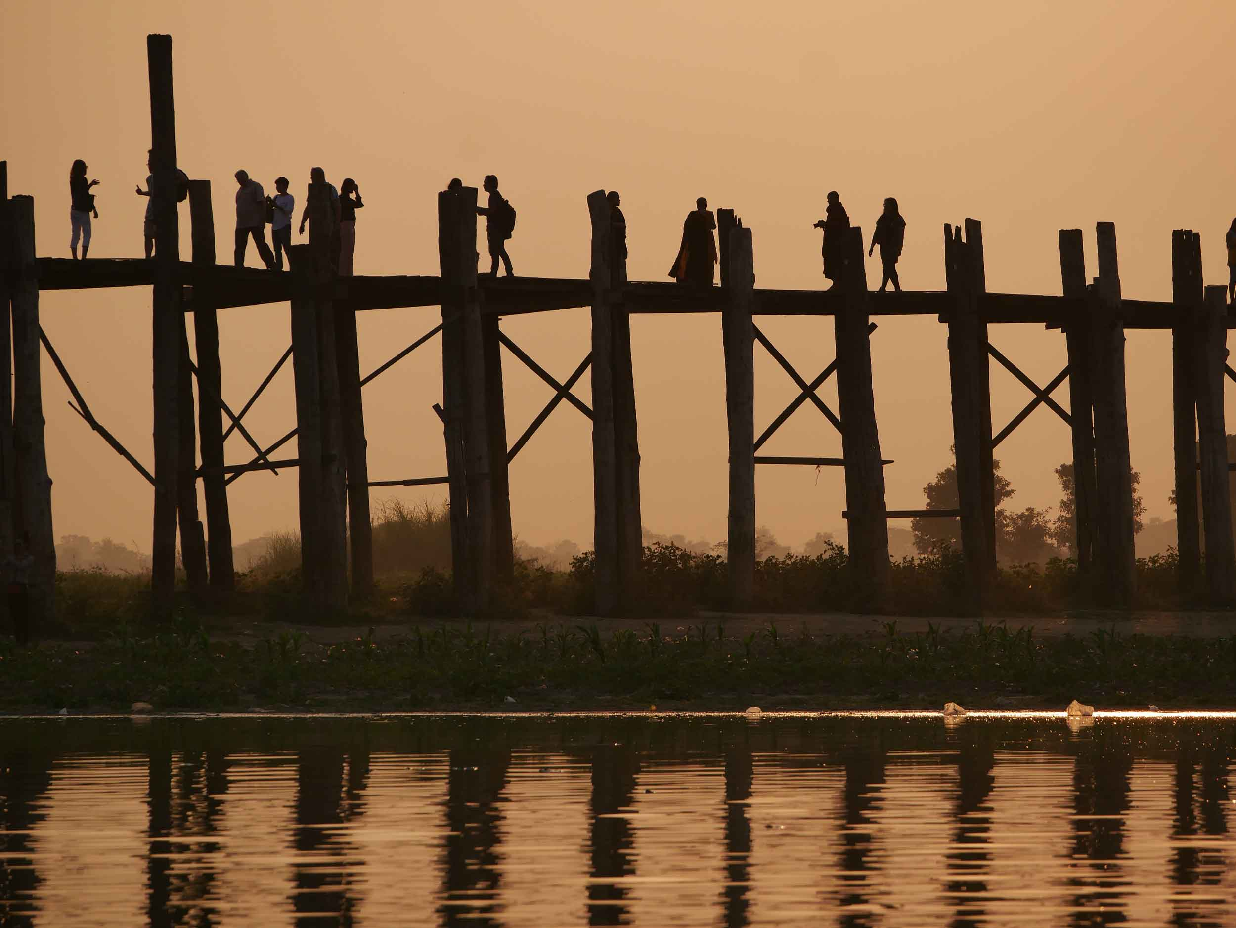 Made of nearly 1,100 wood pillars, U-Bein is thought to be the world's oldest and longest teak bridge (Feb 18).