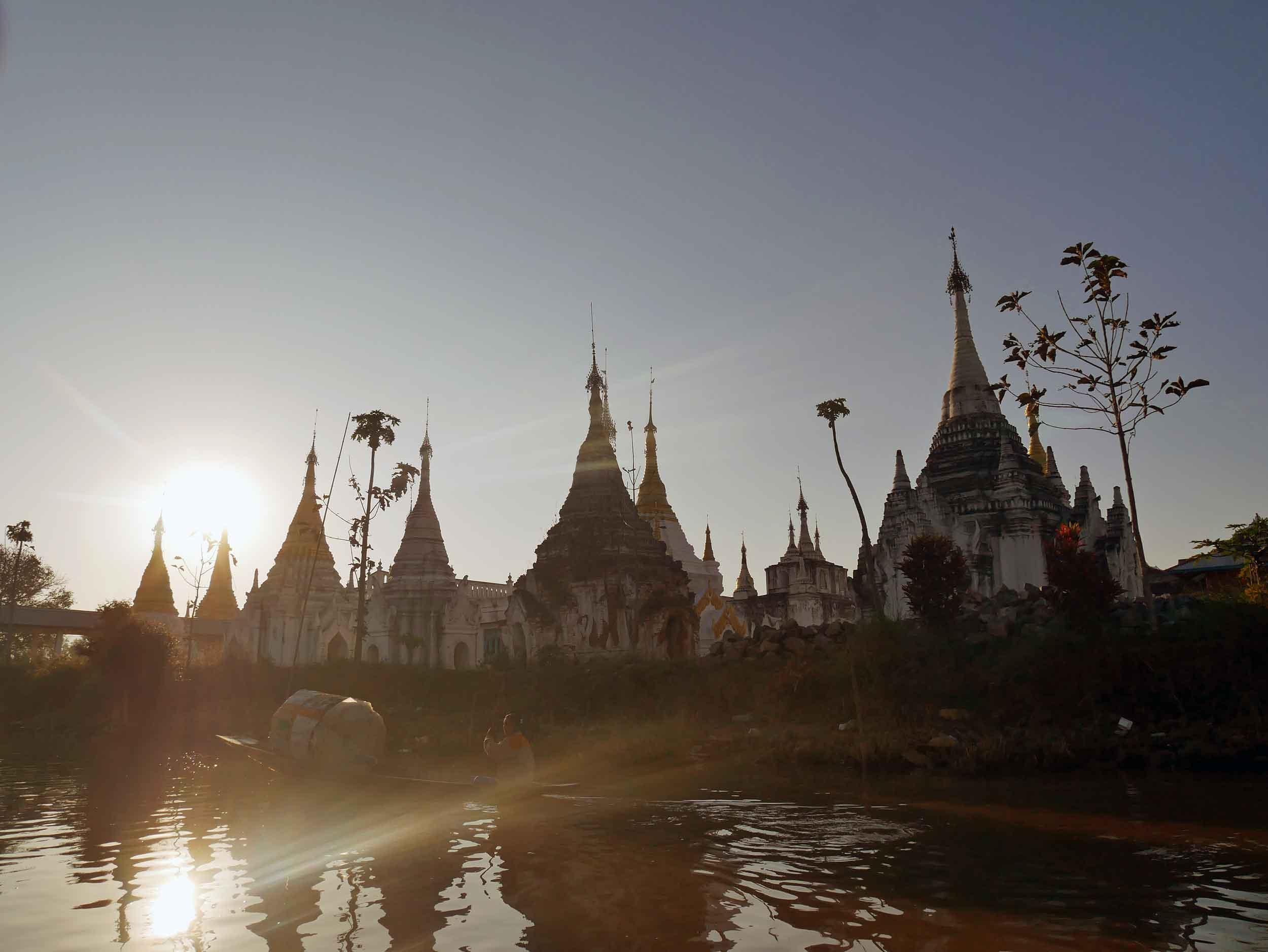 A glittering temple along the lake's edge (Feb 22).