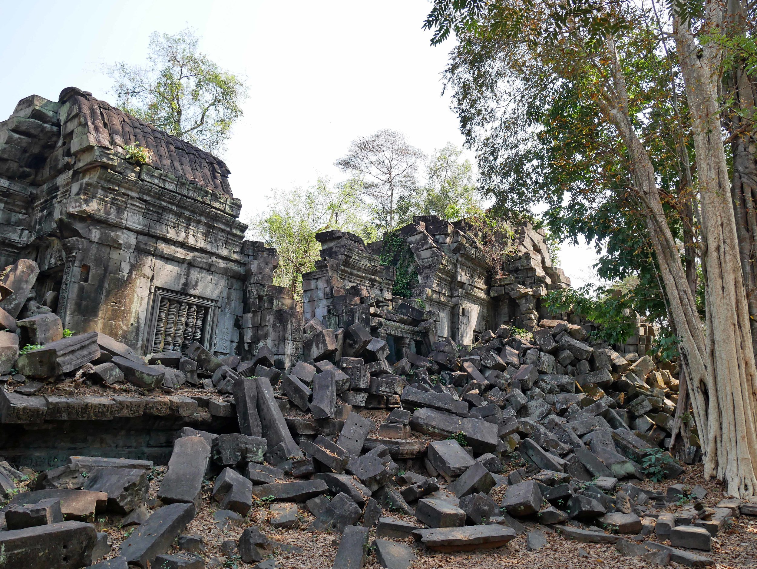 Beng Mealea was the center of the town when it was constructed, featuring a 45 metre wide moat (March 1).