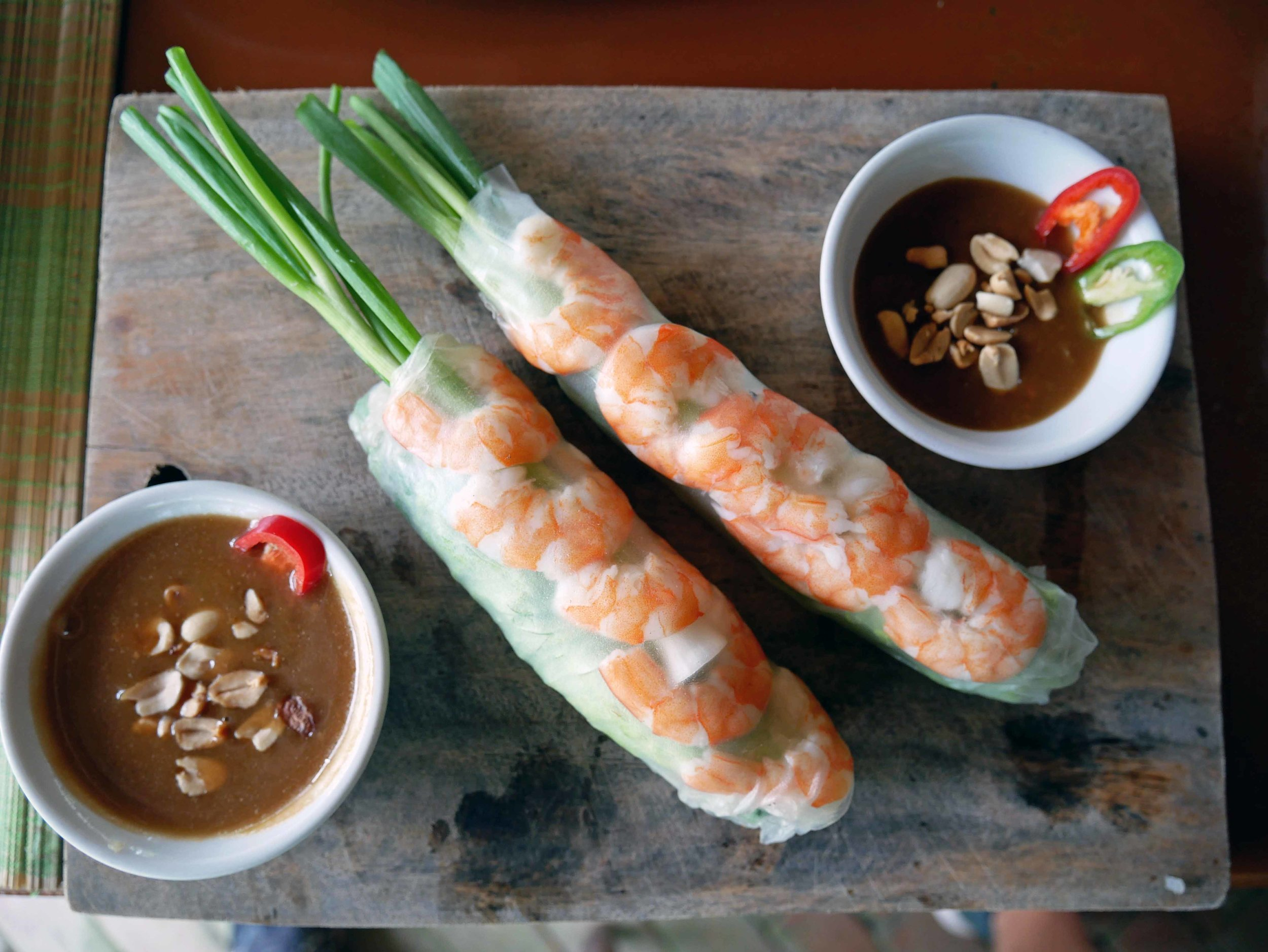 Once the Pho broth was on, we made an appetizer of fresh spring rolls with pork and shrimp.