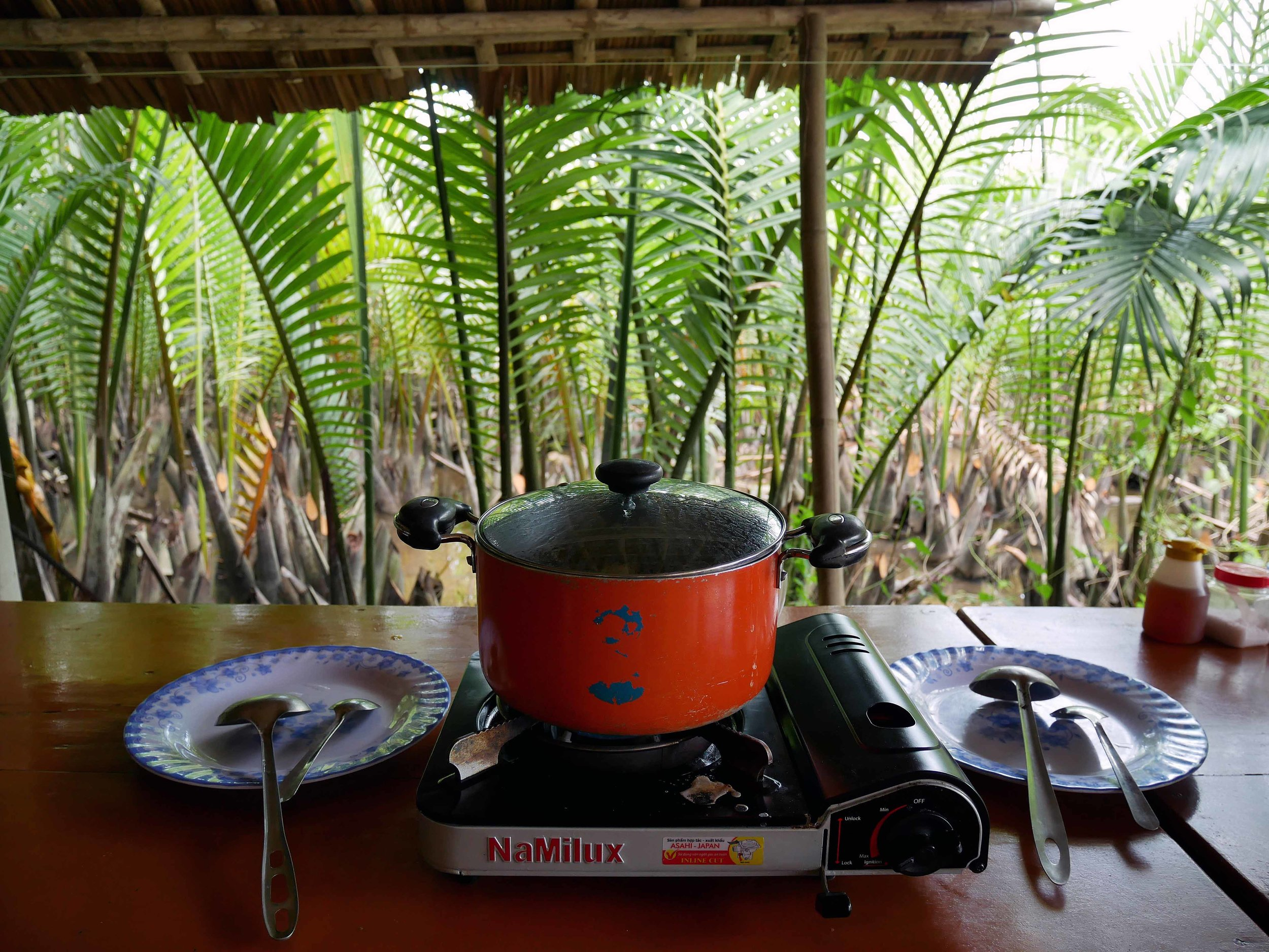 The tropical setting for the island cooking class, surrounded by leafy green water coconut palms.