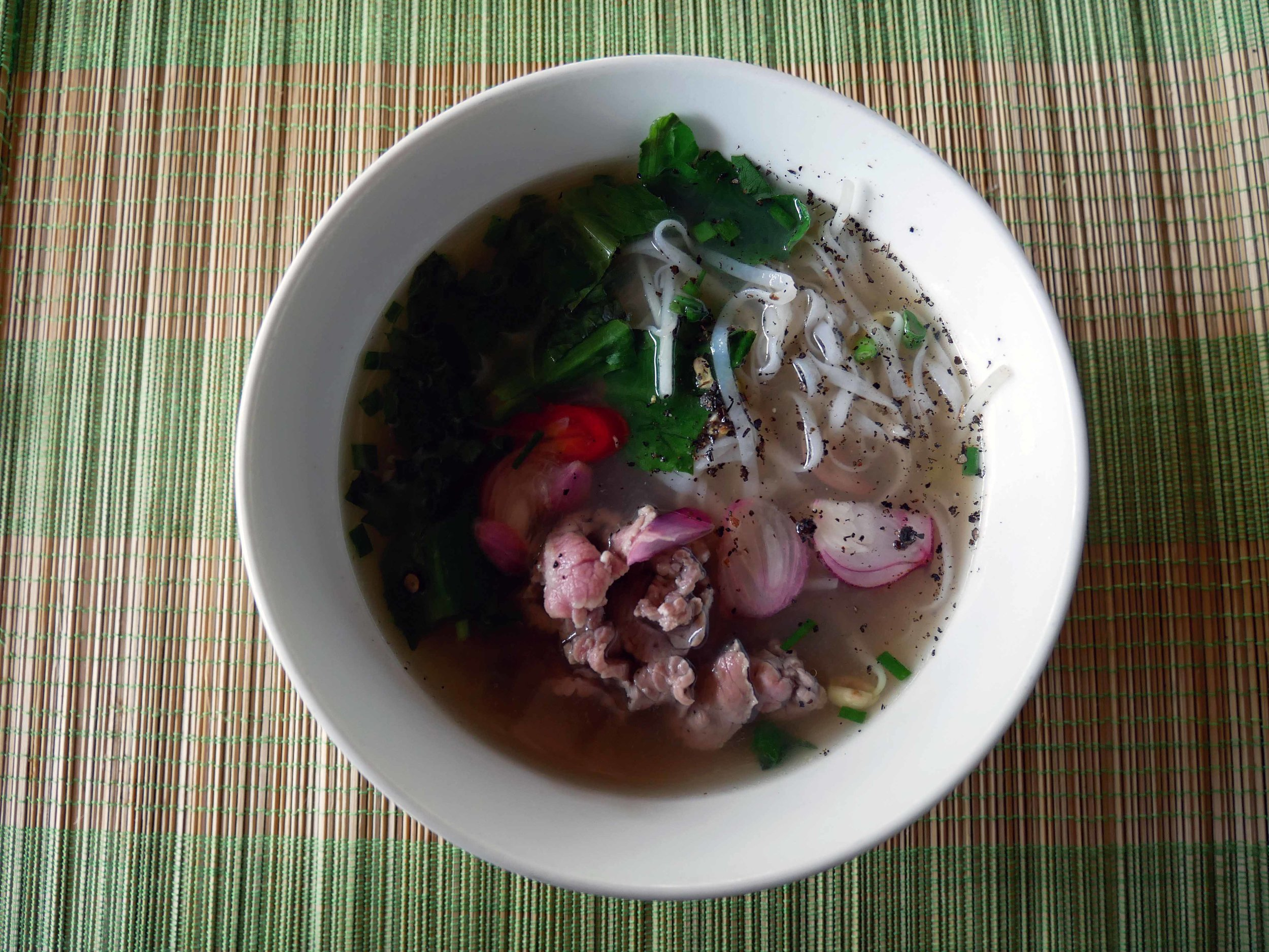 And voila! Our first attempt at Beef Pho, with a little fish sauce and red chili for flavoring.