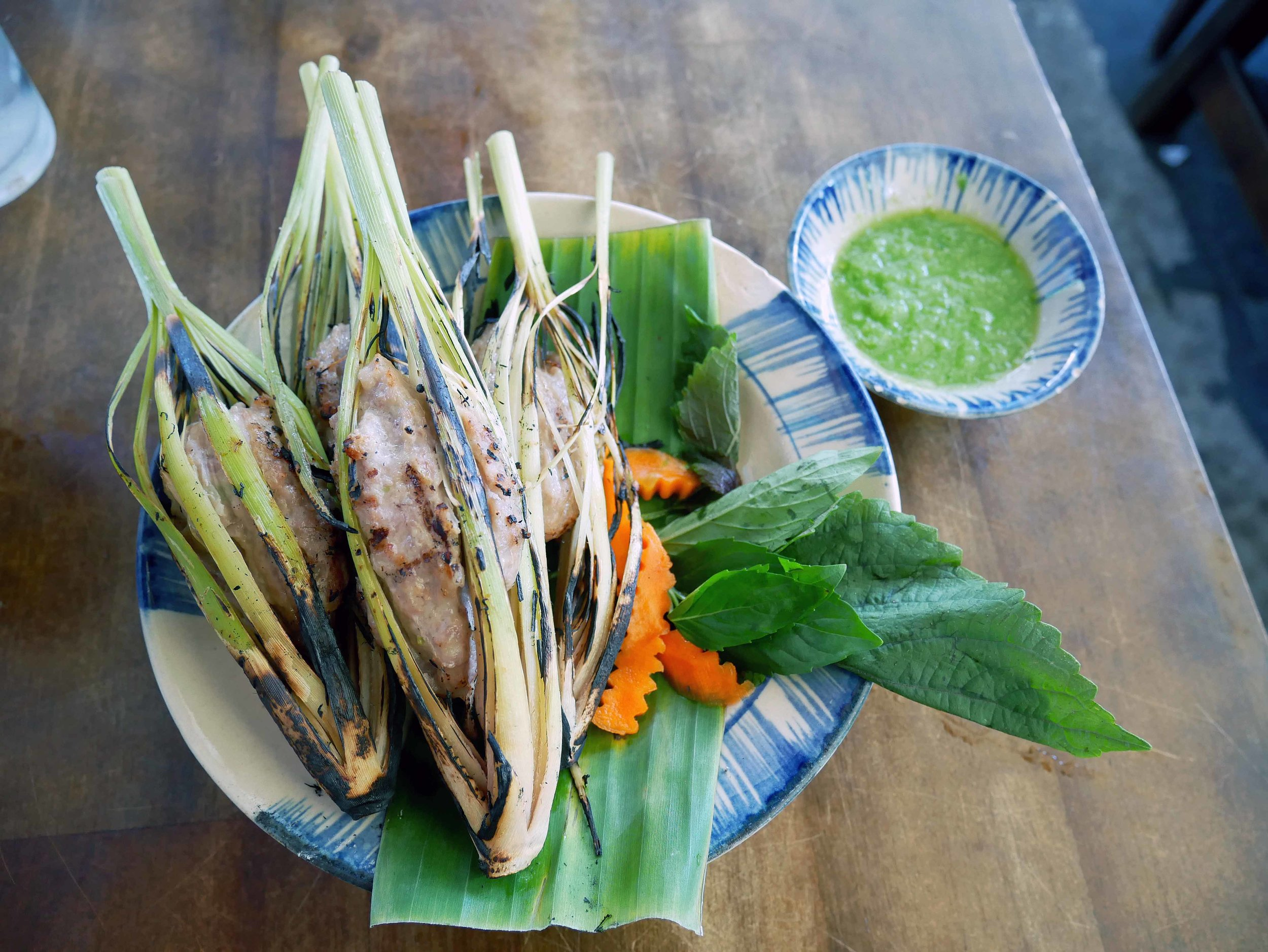 After all that walking, we stopped to refuel on a snack of pork grilled in lemongrass.