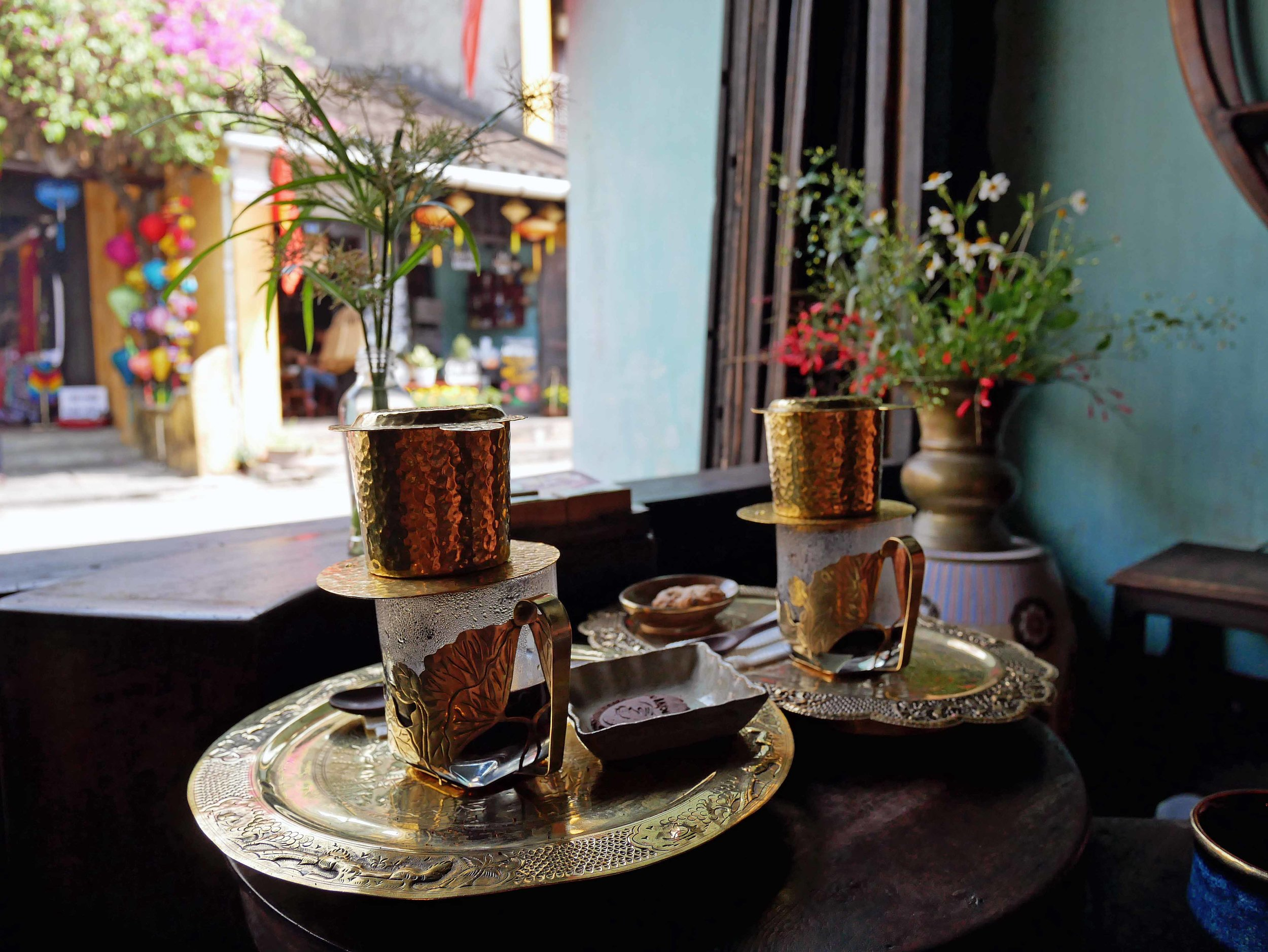 And the traditional Vietnamese coffee is rich. To beat the heat, we had ours on ice made of coffee.