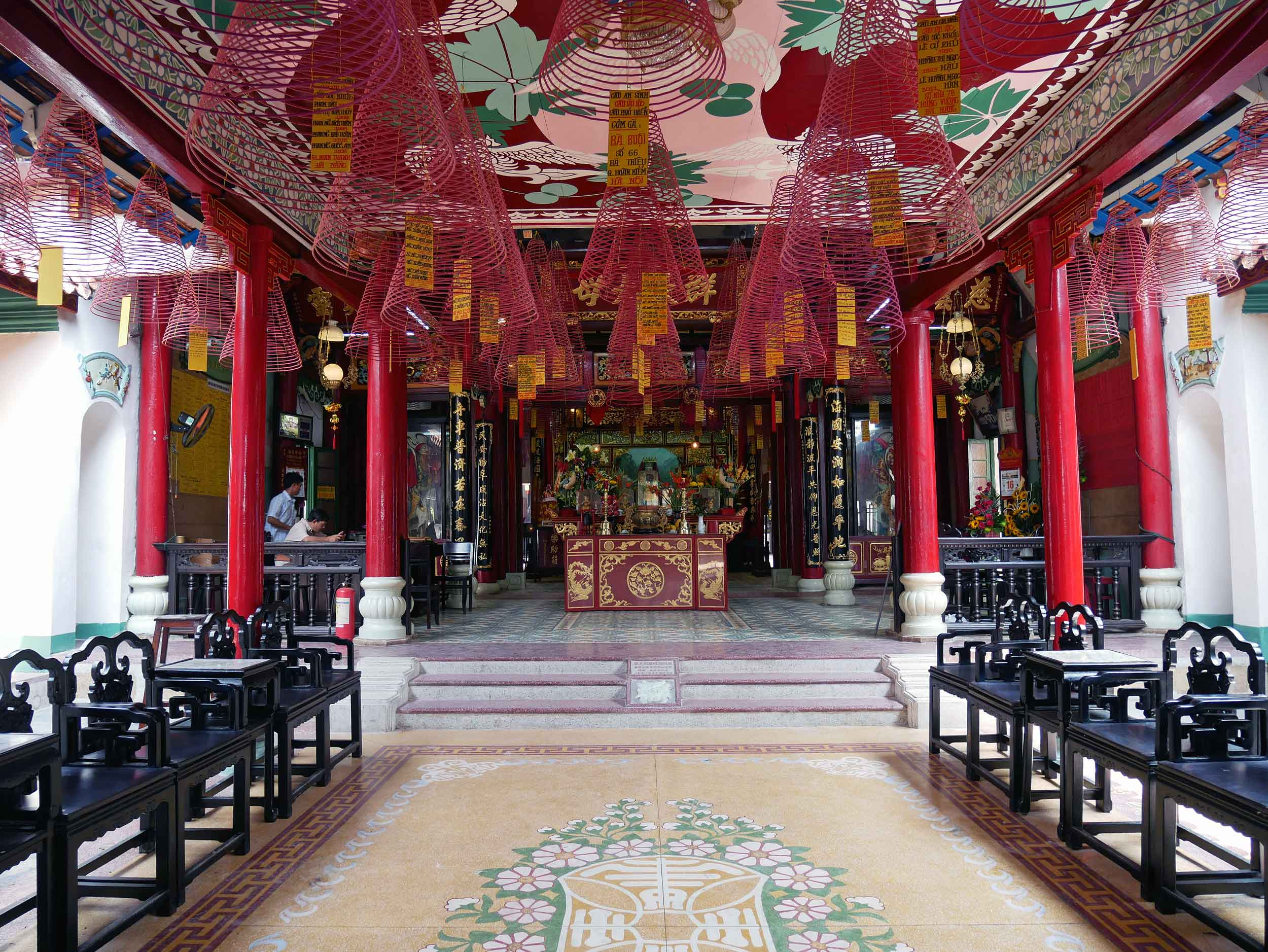 Inside the Assembly Hall, visitors can purchase large coils of incense,which provide good luck to families and burn from the ceiling for about 3-weeks.