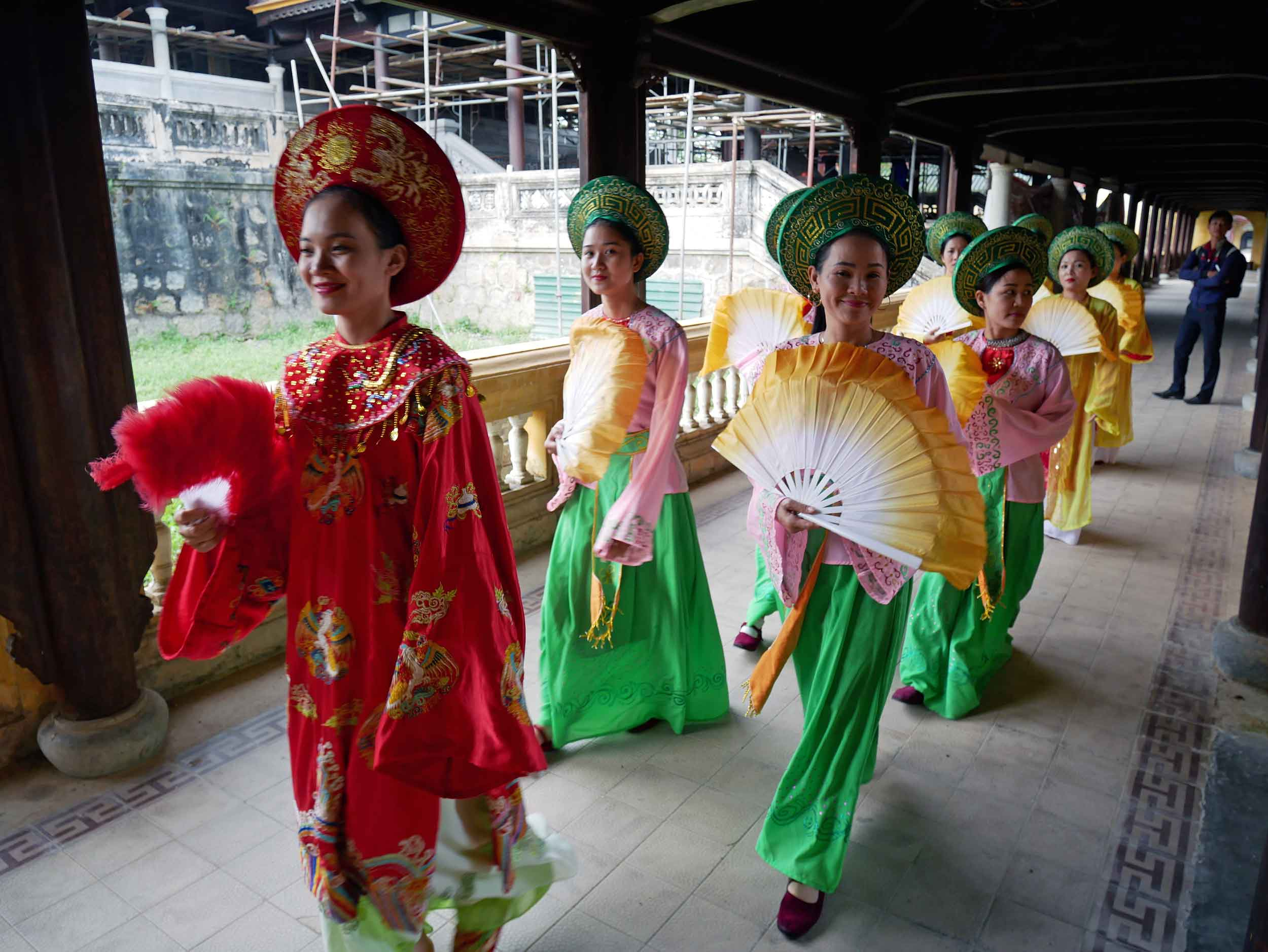 We passed women in colorful costumes readying for a traditional court performance.