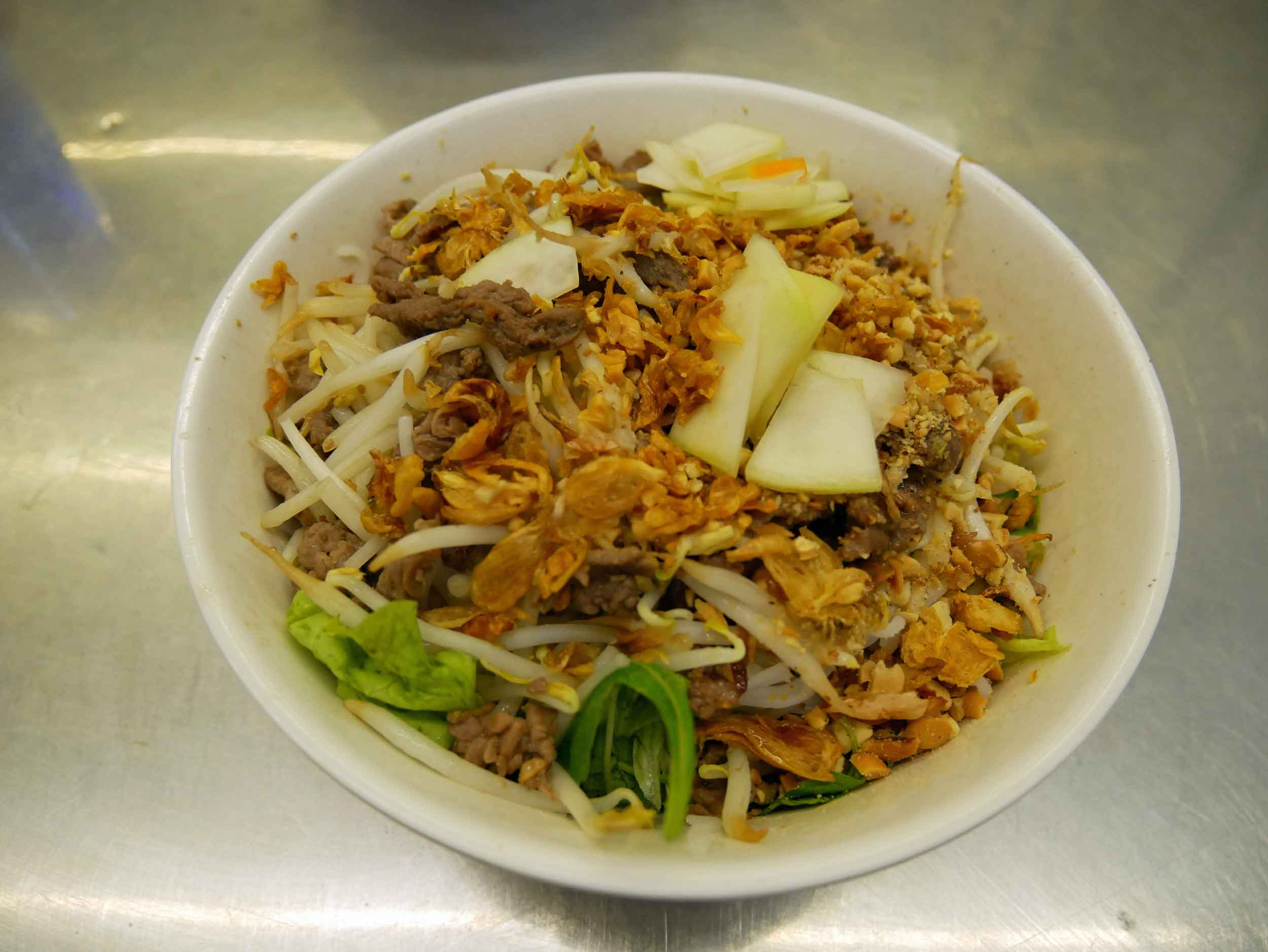 Another delicious foodie find, we fell for the layers of flavor in Hanoi's signature  Bun Bo , rice vermicelli and beef.