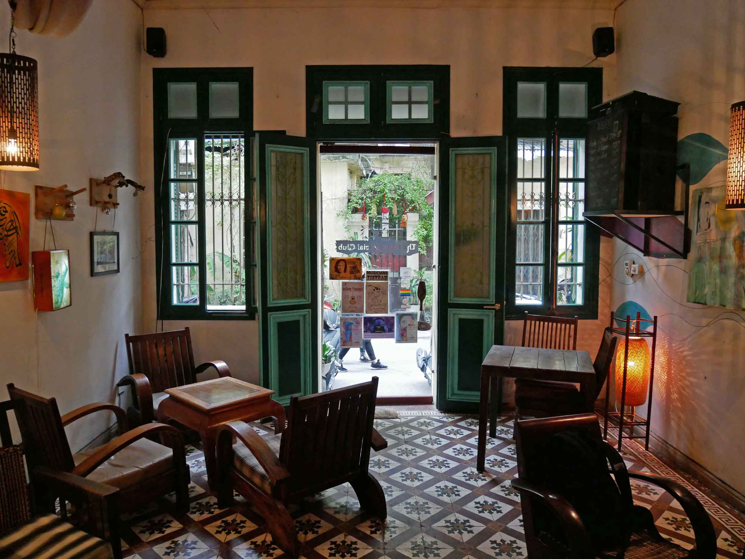 We found respite from the chaotic streets at Hanoi Social Club, a multi-story coffeehouse and performance space in the Old Quarter.