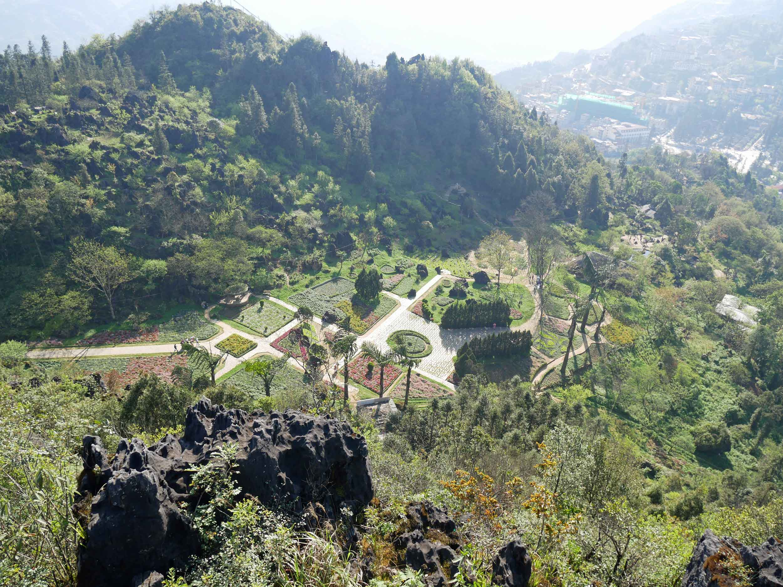 View from above of the garish and ornate Ham Rong Mountain park in Sapa (Mar 22).