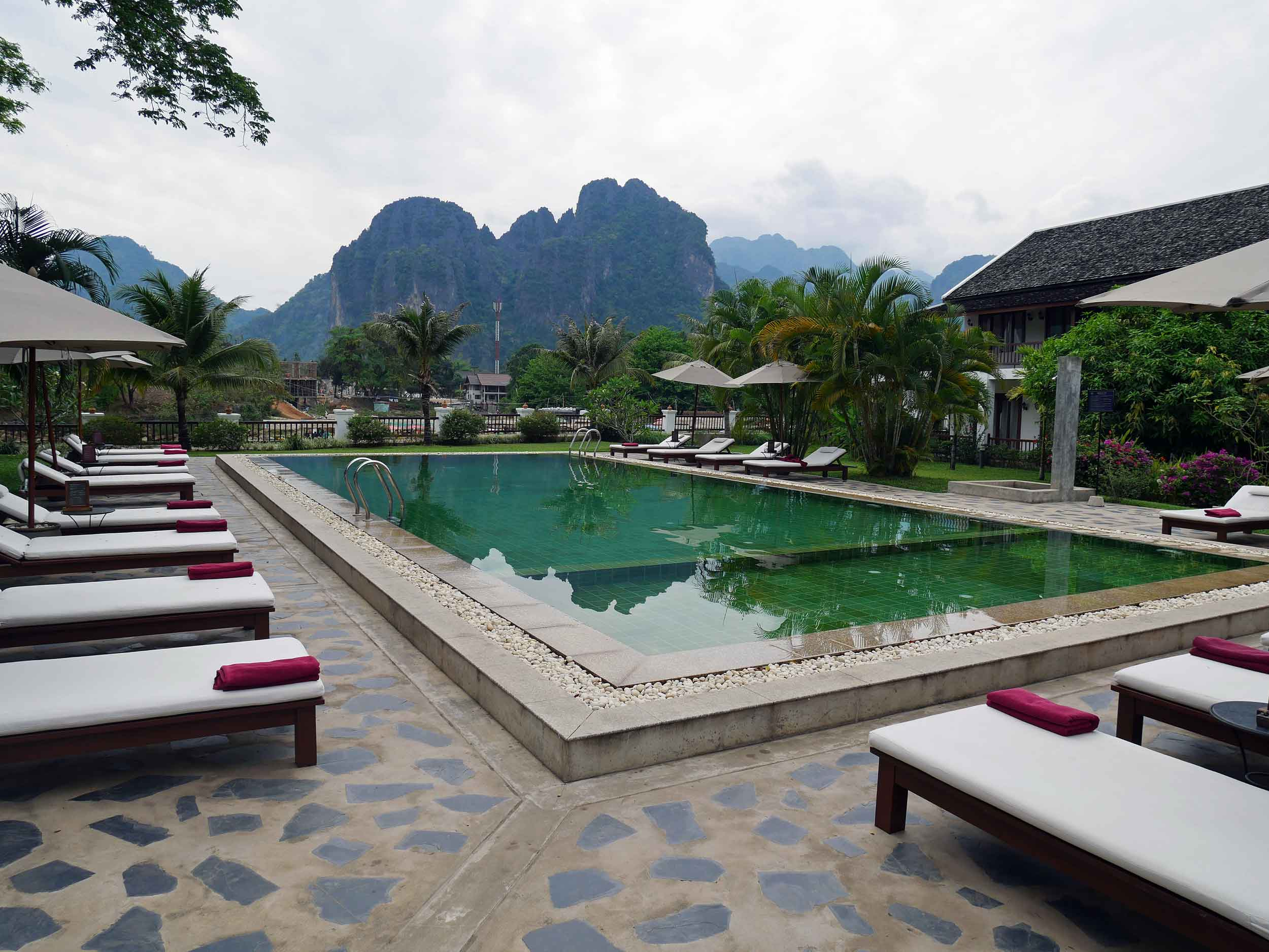 A short minibus ride north brought us to Vang Vieng, where we celebrated Martin's birthday at a picturesque boutique hotel beside the Nam Song River (March 31).