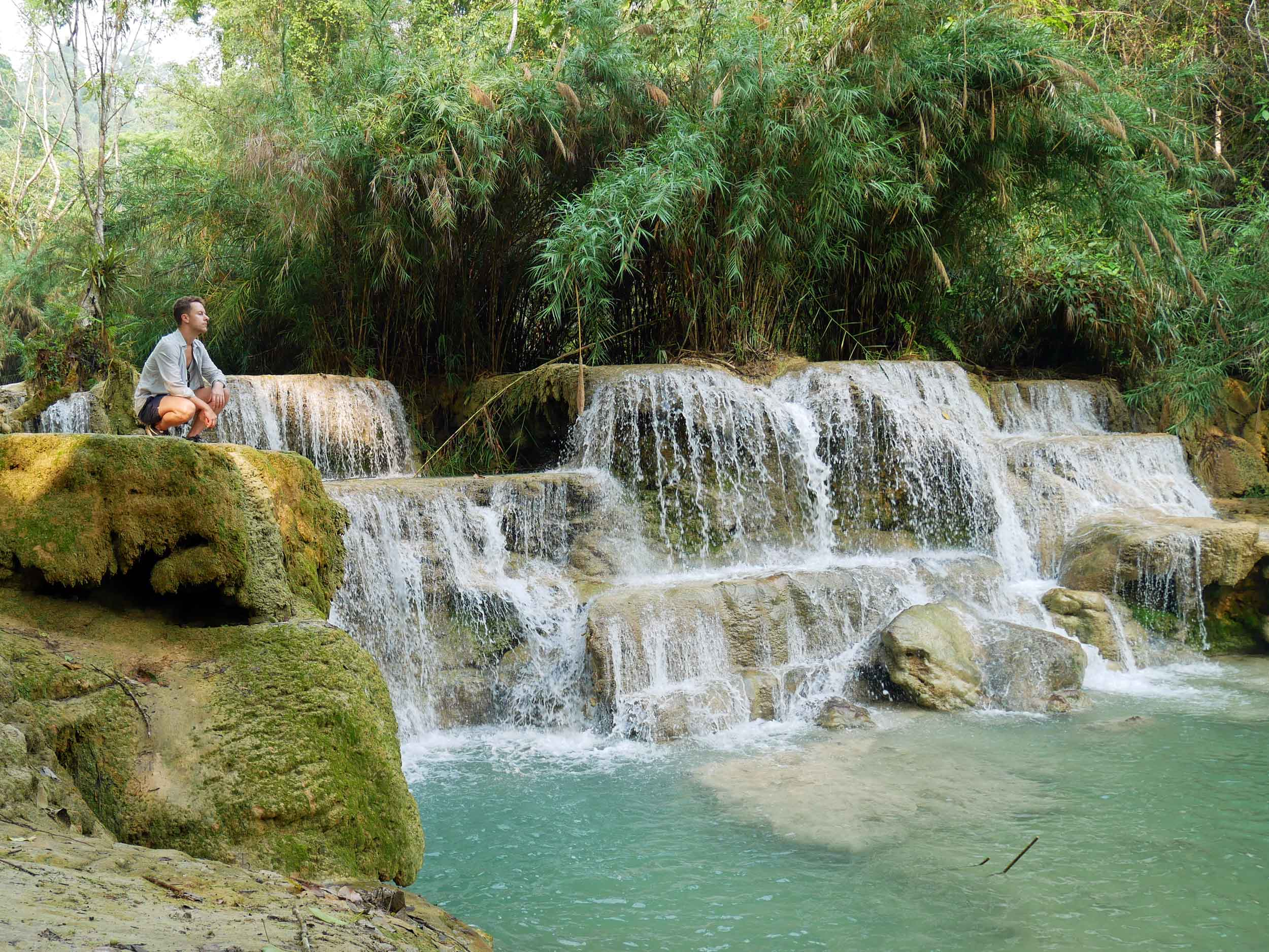 We had to stop and take in one of the many beautiful cascades downstream from Kuang Si Falls.