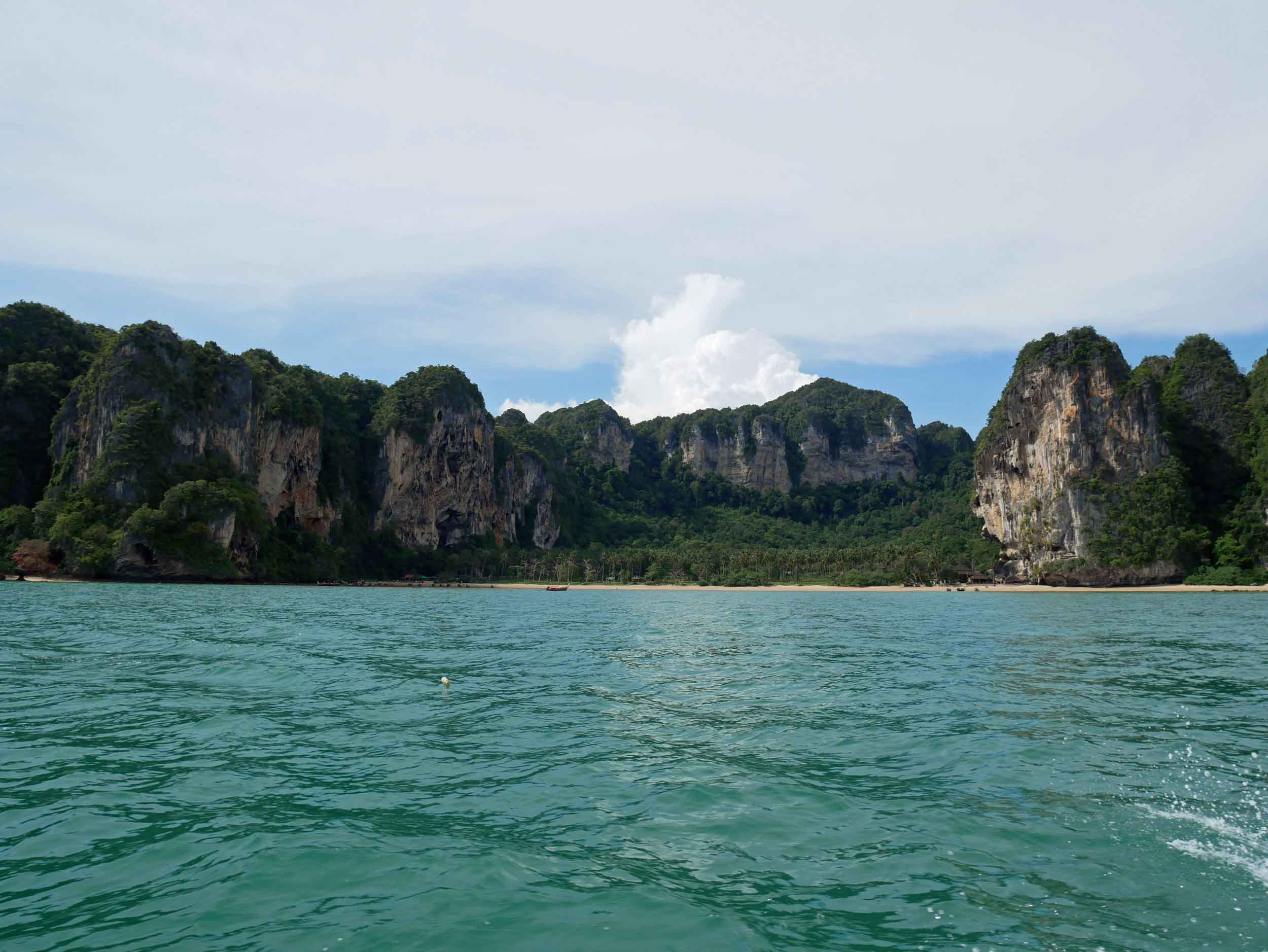 The passing scenery as we make our way to Railay Beach, which is surrounded by towering rock formations.