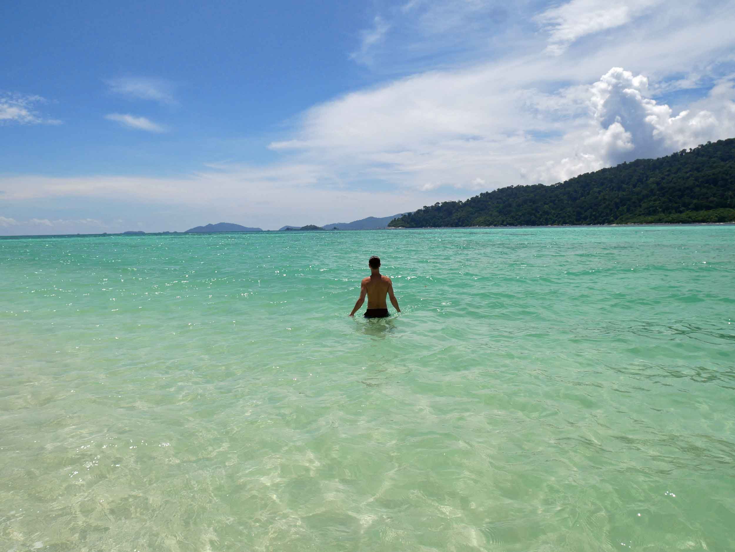 On Ko Lanta, we swam and stayed submerged in the beautiful clear water to beat the tropical heat.