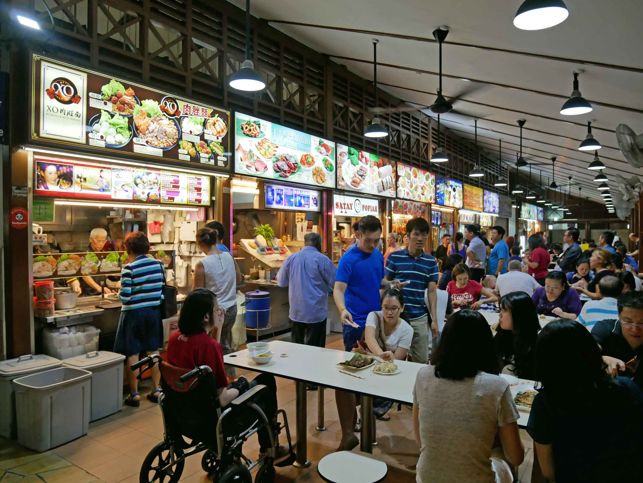 As night settled in, we visited busy Newton Food Centre, packed with local hawker food stalls.