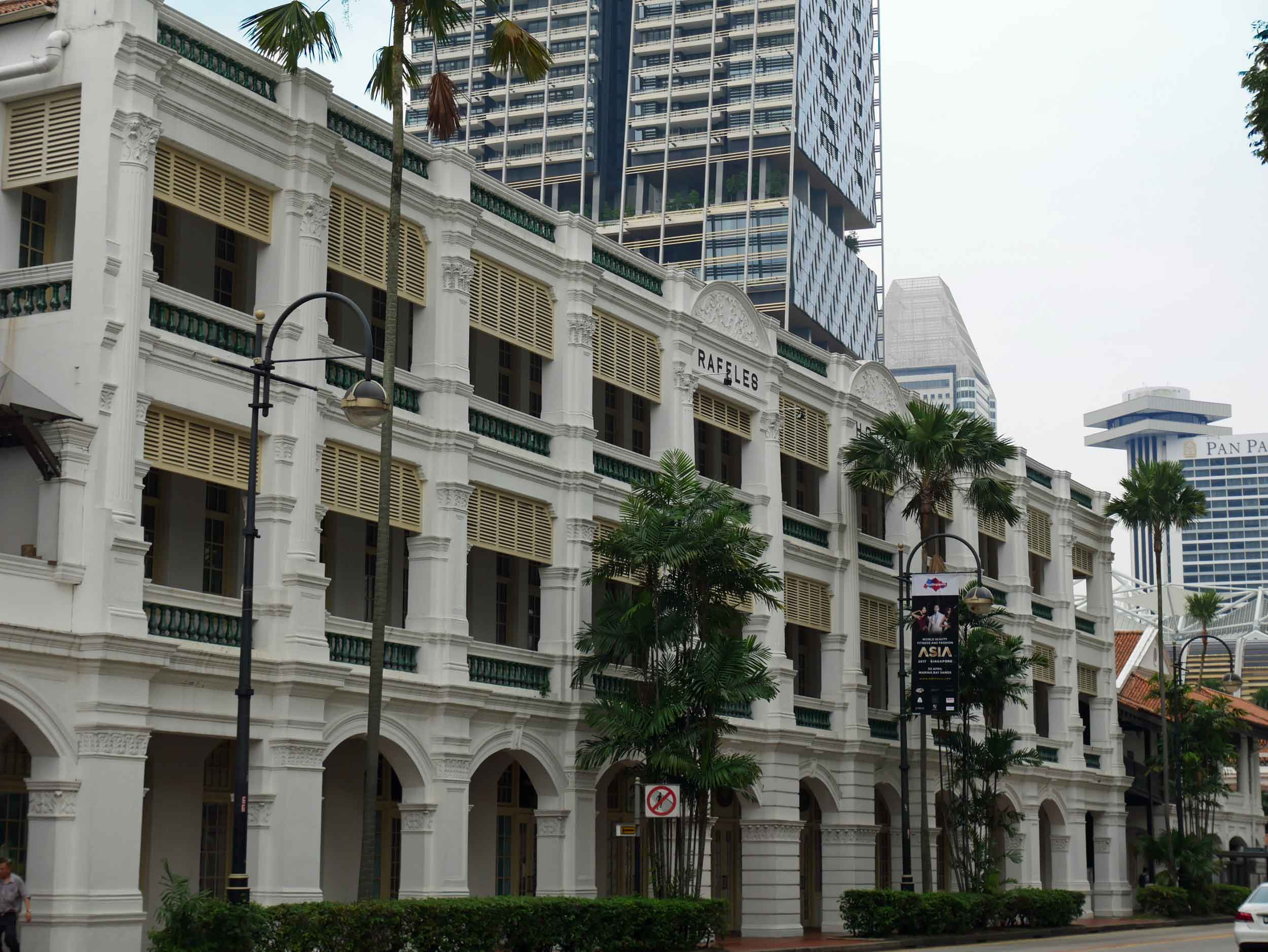 The iconic colonial-style Raffles Hotel, named after Singapore's British founder Sir Thomas Raffles, opened in 1887.
