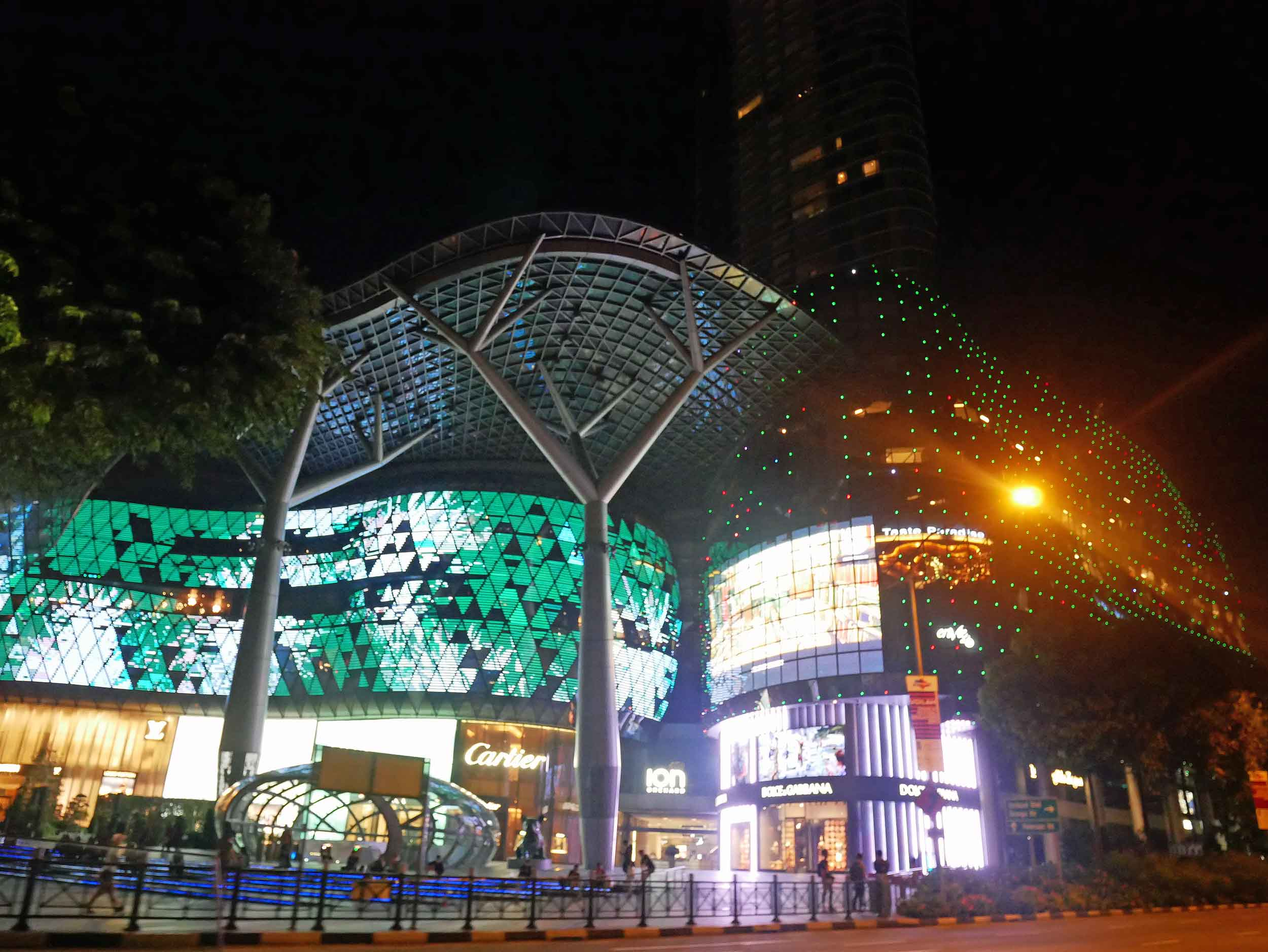Singapore transforms at night, as displayed in the vibrant, bright lights of ION Orchard.