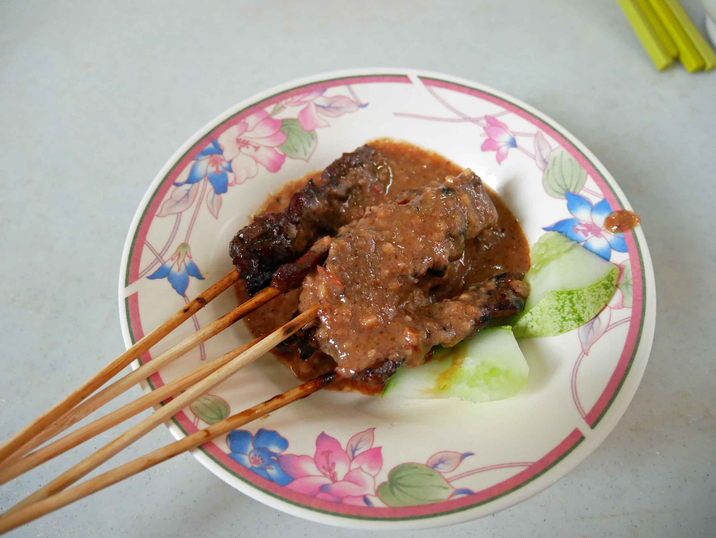 The area is known for  satay , and at Yan Chun Tai, we opted for pork.