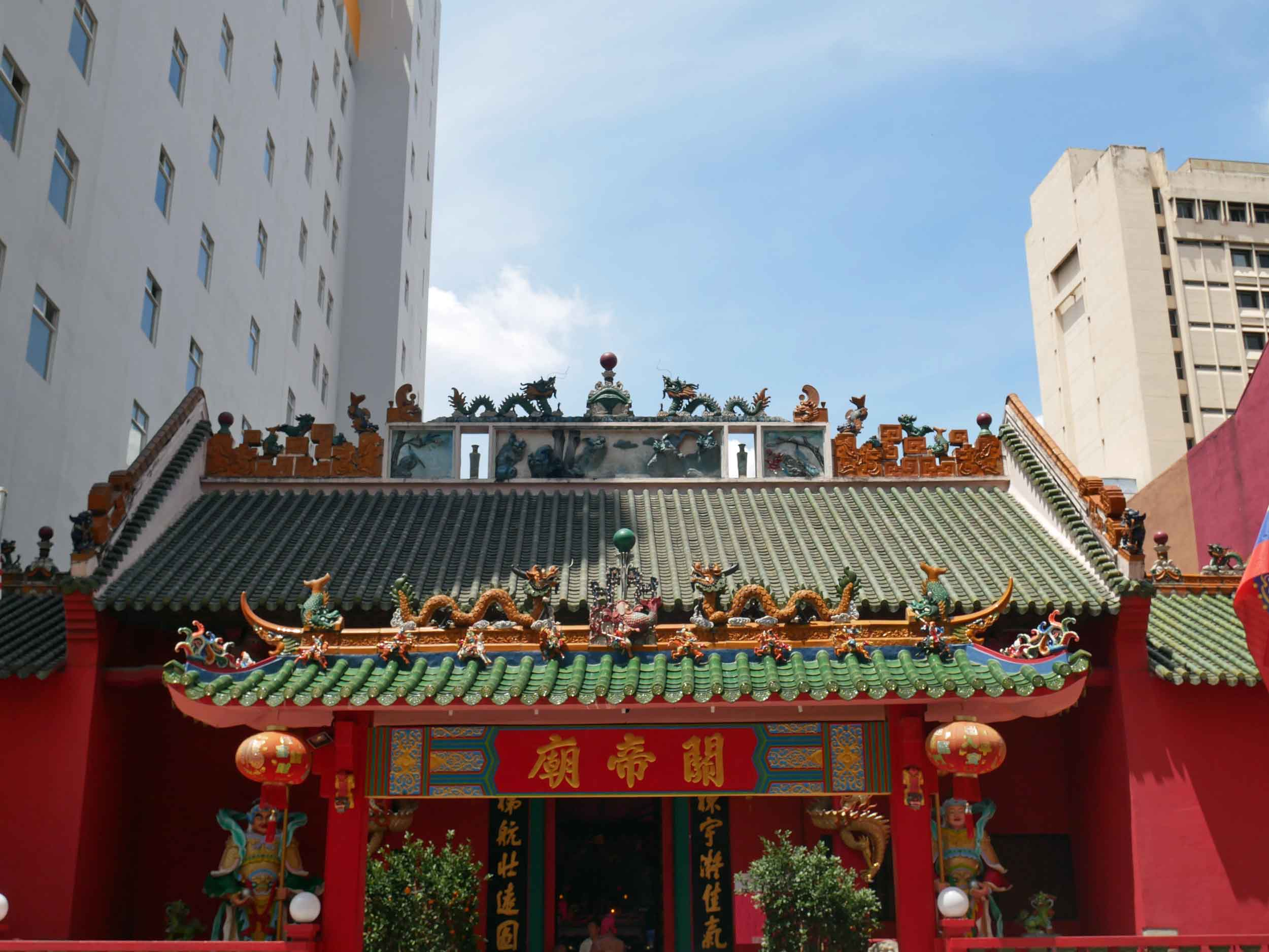 Guan Di Taoist Temple houses a 59kg copper Chinese pole weapon, thought to protect any person who can lift it.