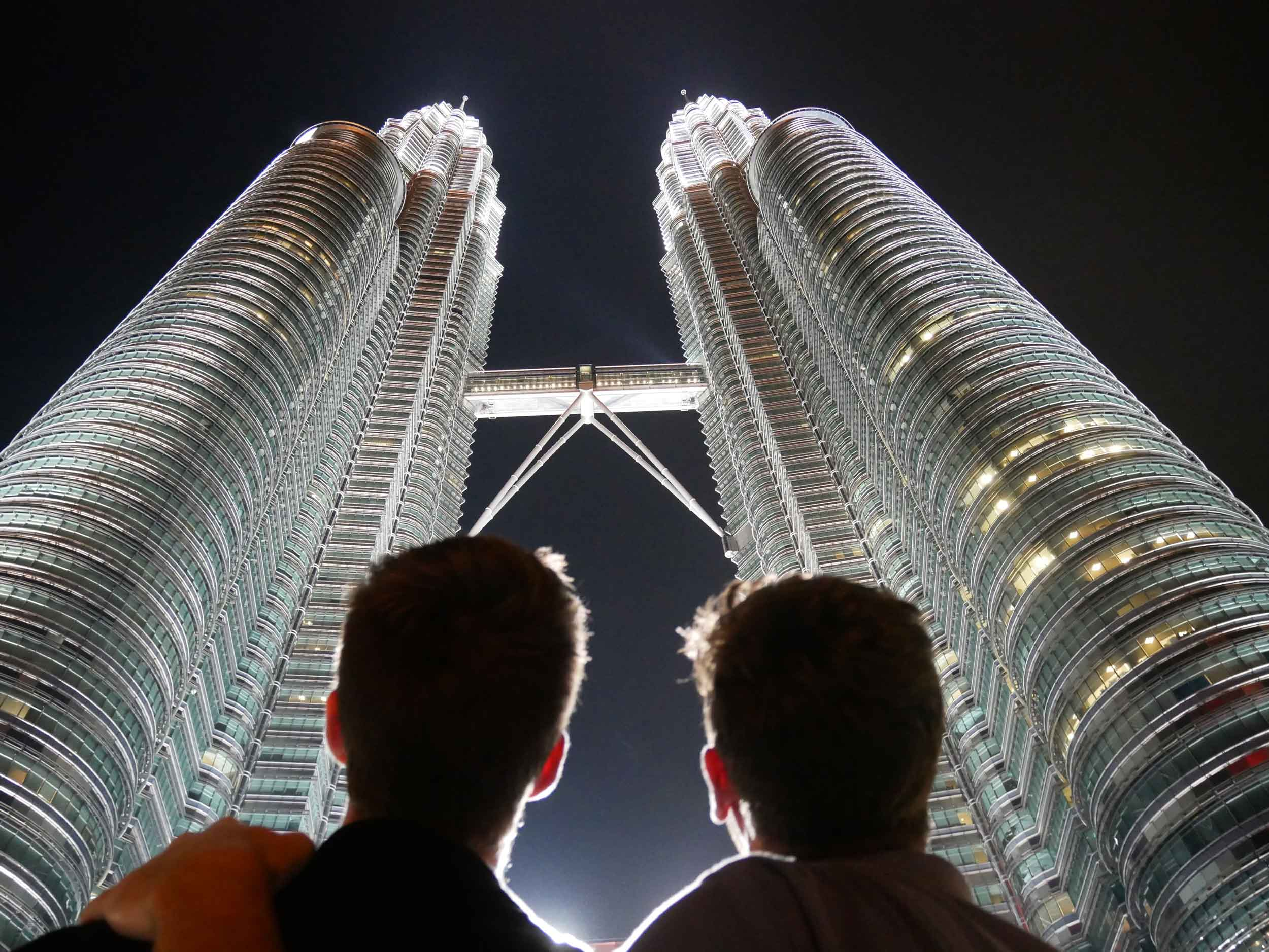Already so impressed with Malaysia, we were awe-struck by the soaring Petronas Twin Towers as we arrived to Kuala Lumpur (May 12).