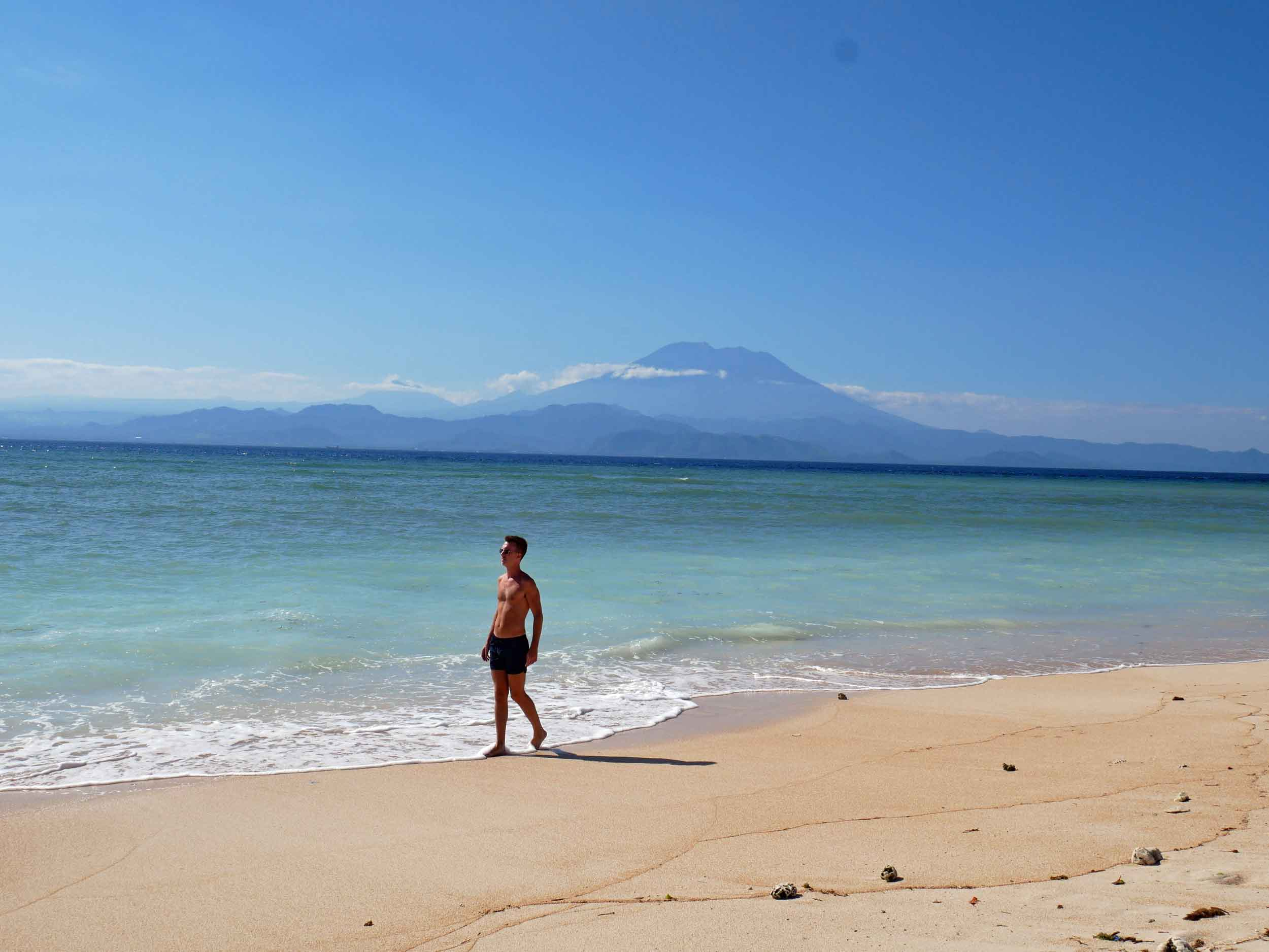 Long and narrow Pemedal Beach also offers a magnificent view of Mount Agung.