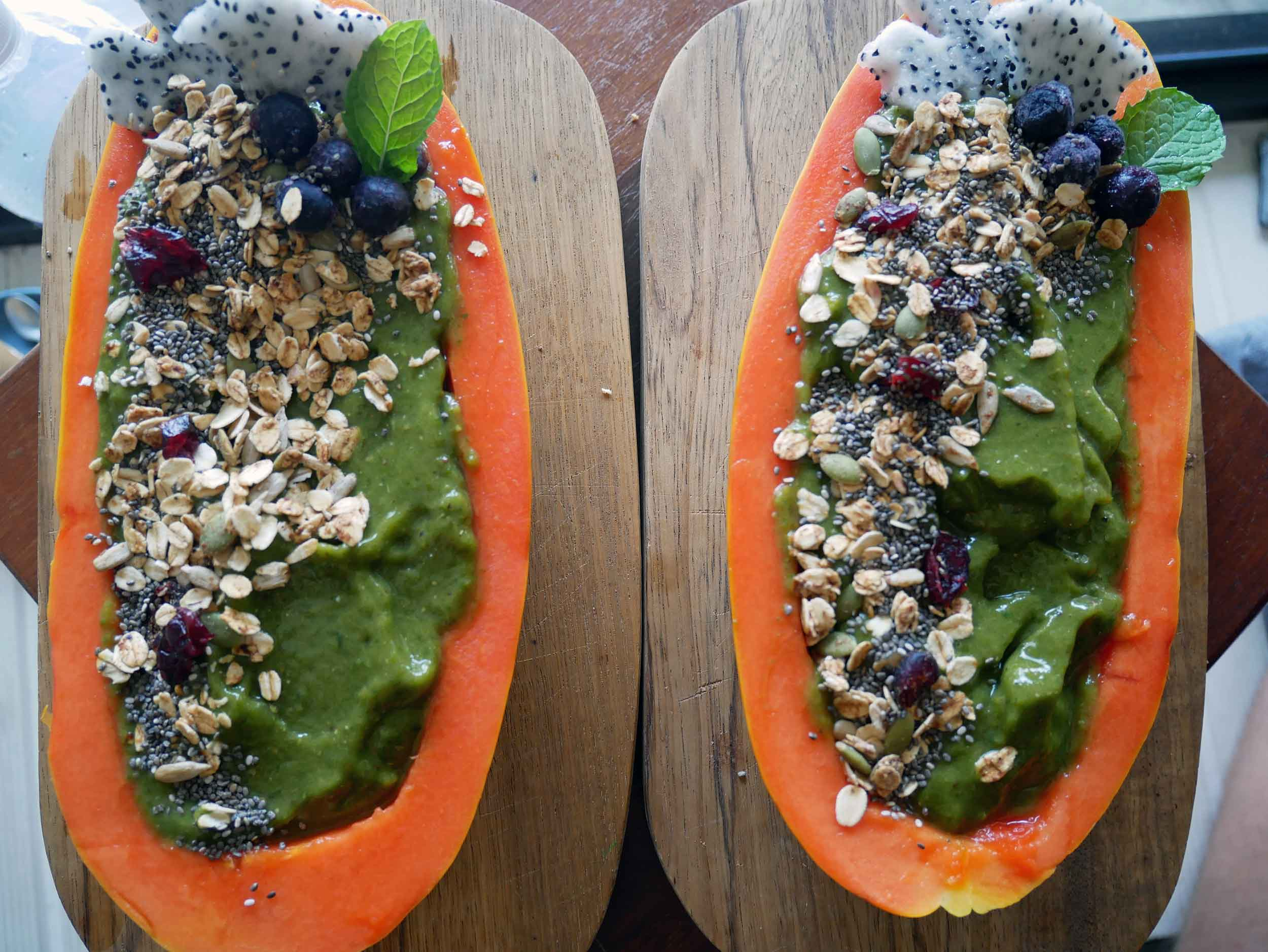 Our favorite dish at Wholey Wonder was the  papaya smoothie bowl  filled with raw, organic goodness.