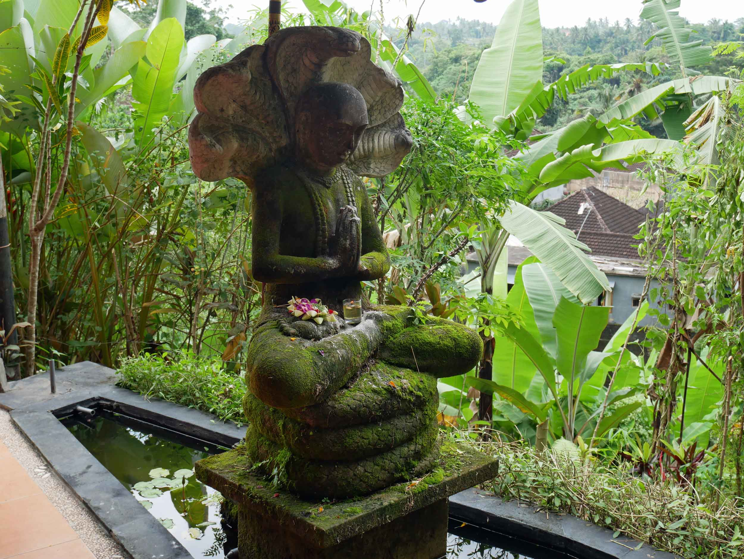 A moss covered statue sat peacefully at the entry to Intutitive Flow.