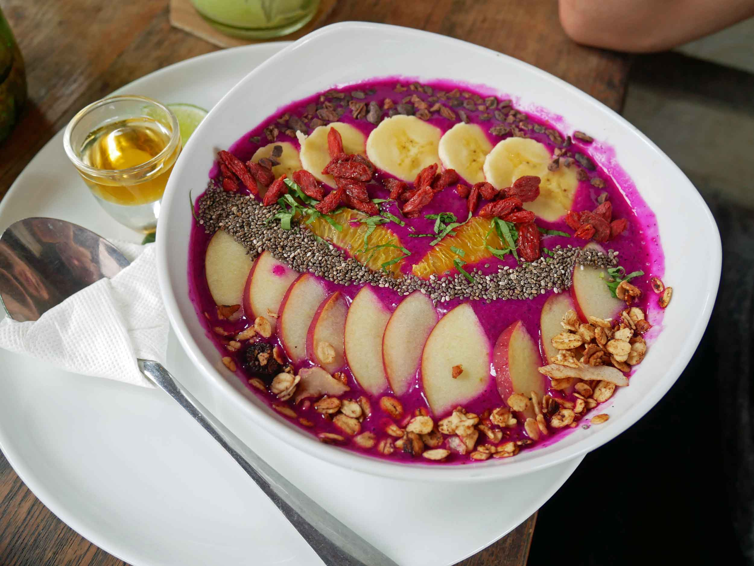 But also plenty of healthy food, like this vibrant dragonfruit smoothie bowl, which quickly became David's favorite snack.