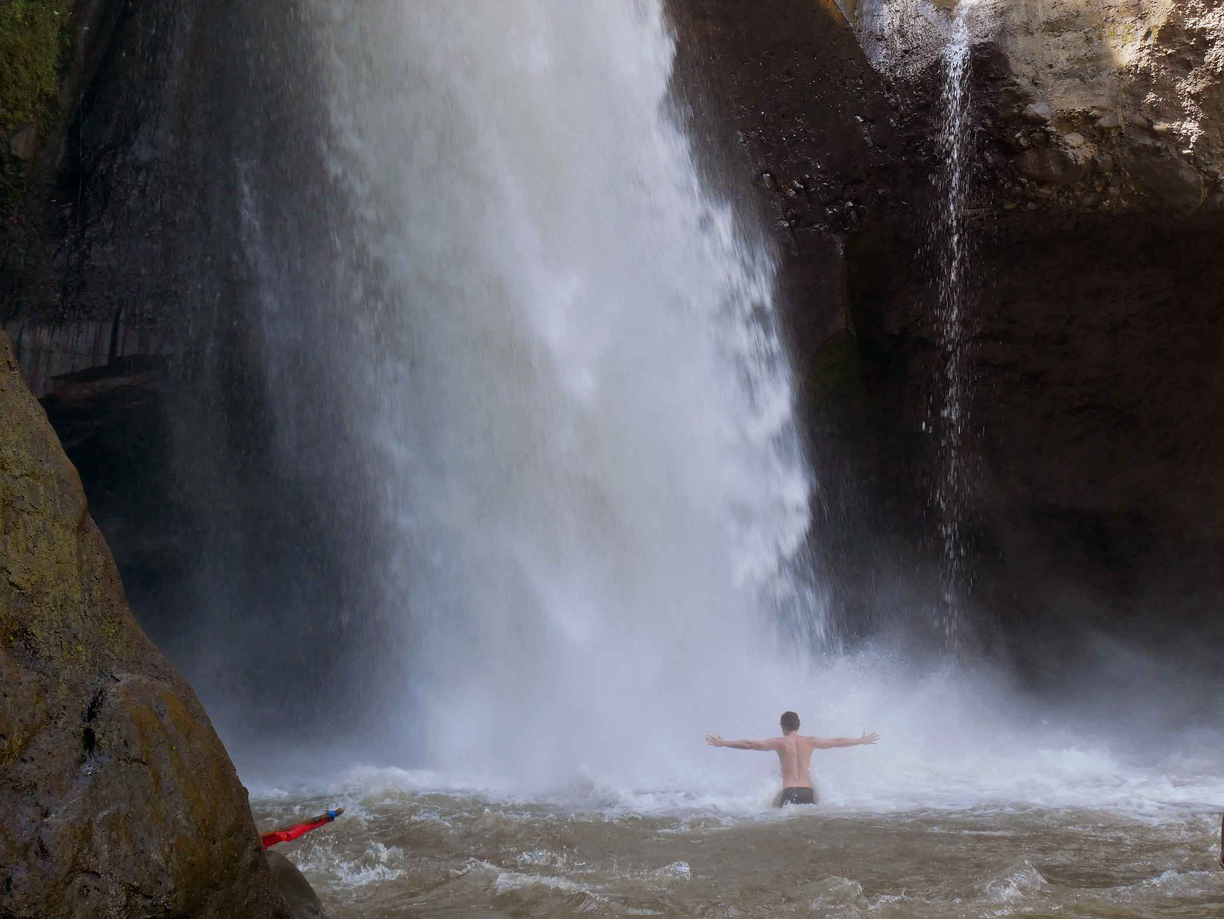 David, always the water sign, wasted no time as he dove into the powerful falls.