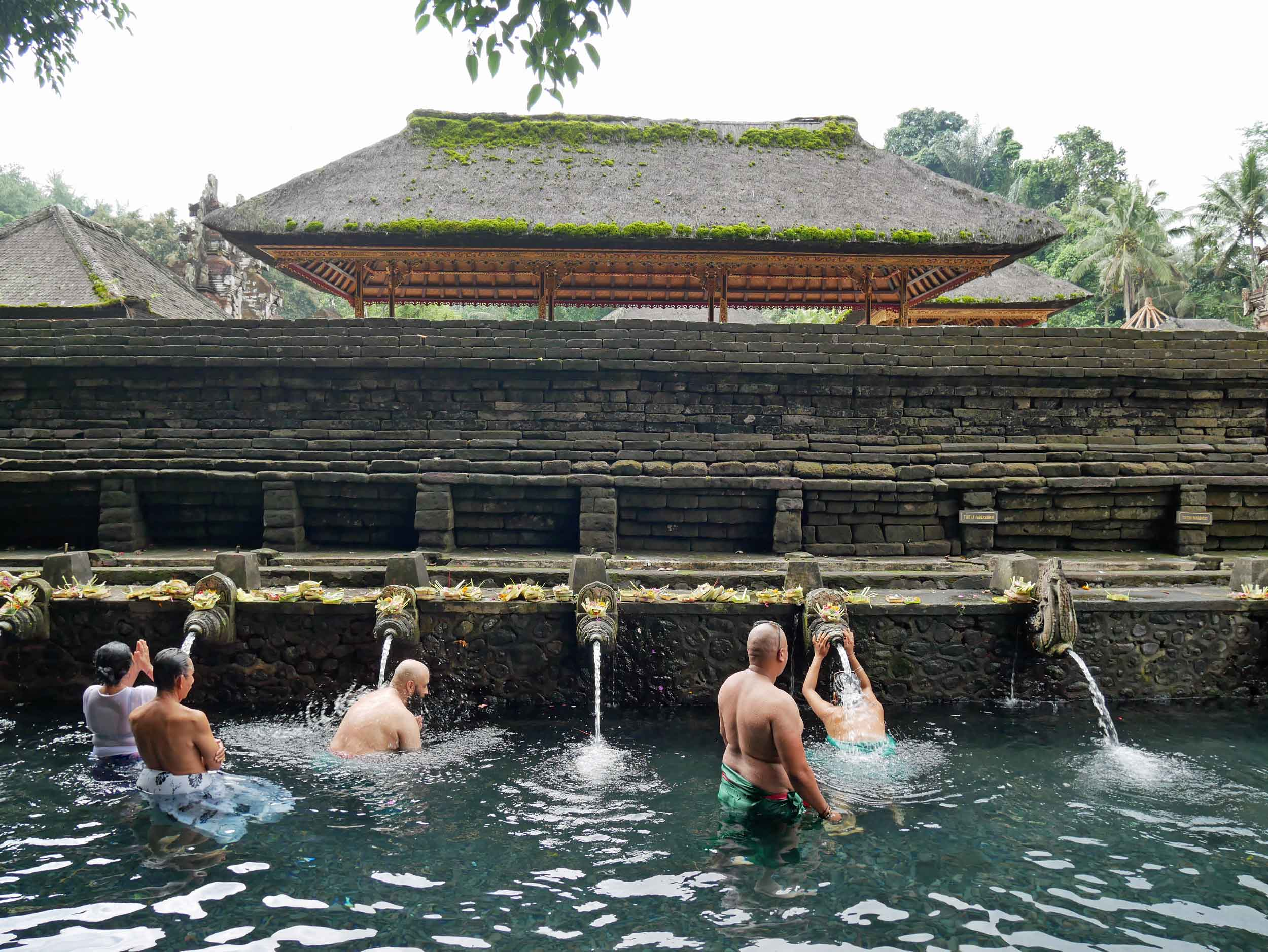 The temple is famous for its sacred bathing pool, where Balinese Hindus come for ritual purifcation in the spring water.