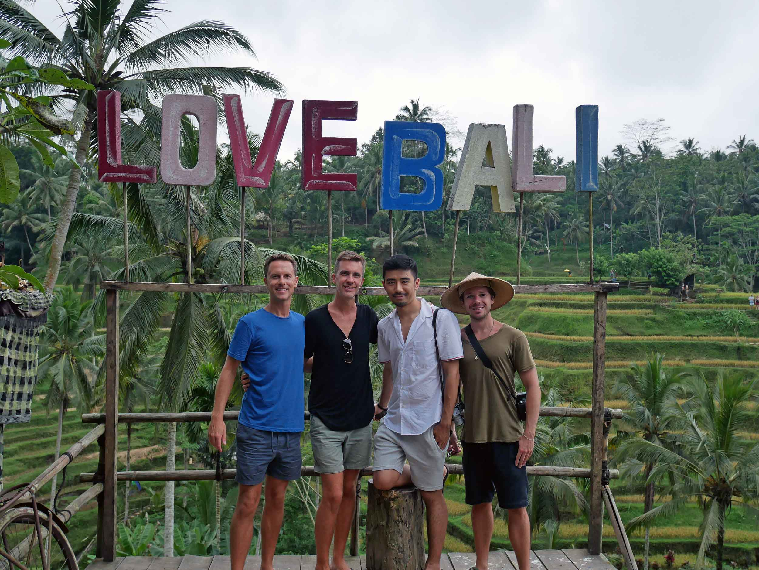 Finally, we (Martin, Trey, Nik and David) arrived to the famous Tegallalang rice terraces that beautifully slope down the verdant valley.