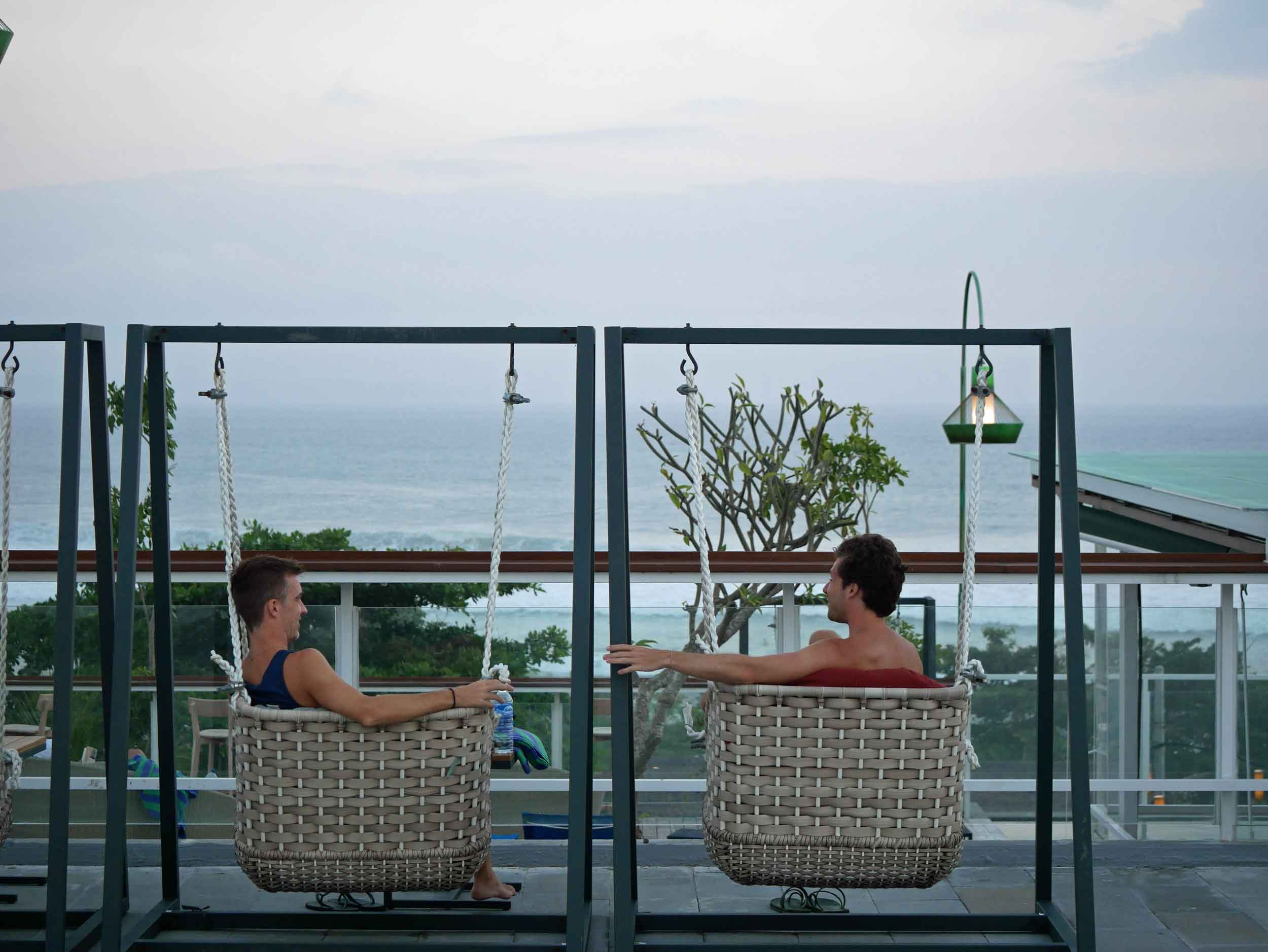 Trey and David caught up on the rooftop of our hotel as the sun began to slide below the horizon in Canggu (June 4).
