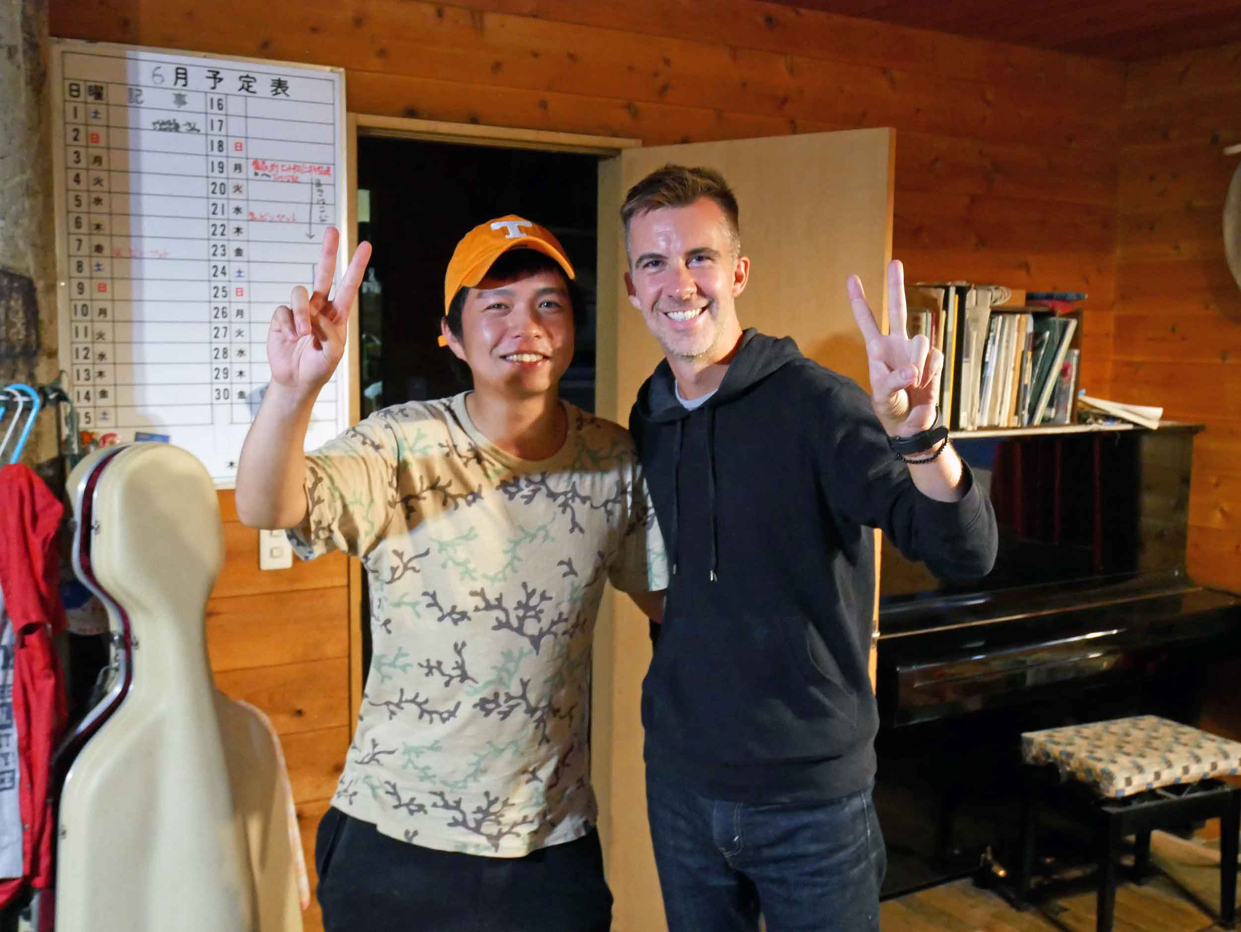 """One of the long-term workers, Toshi, had studied in Knoxville, TN, and quickly won Trey over with his """"Big Orange"""" hat."""