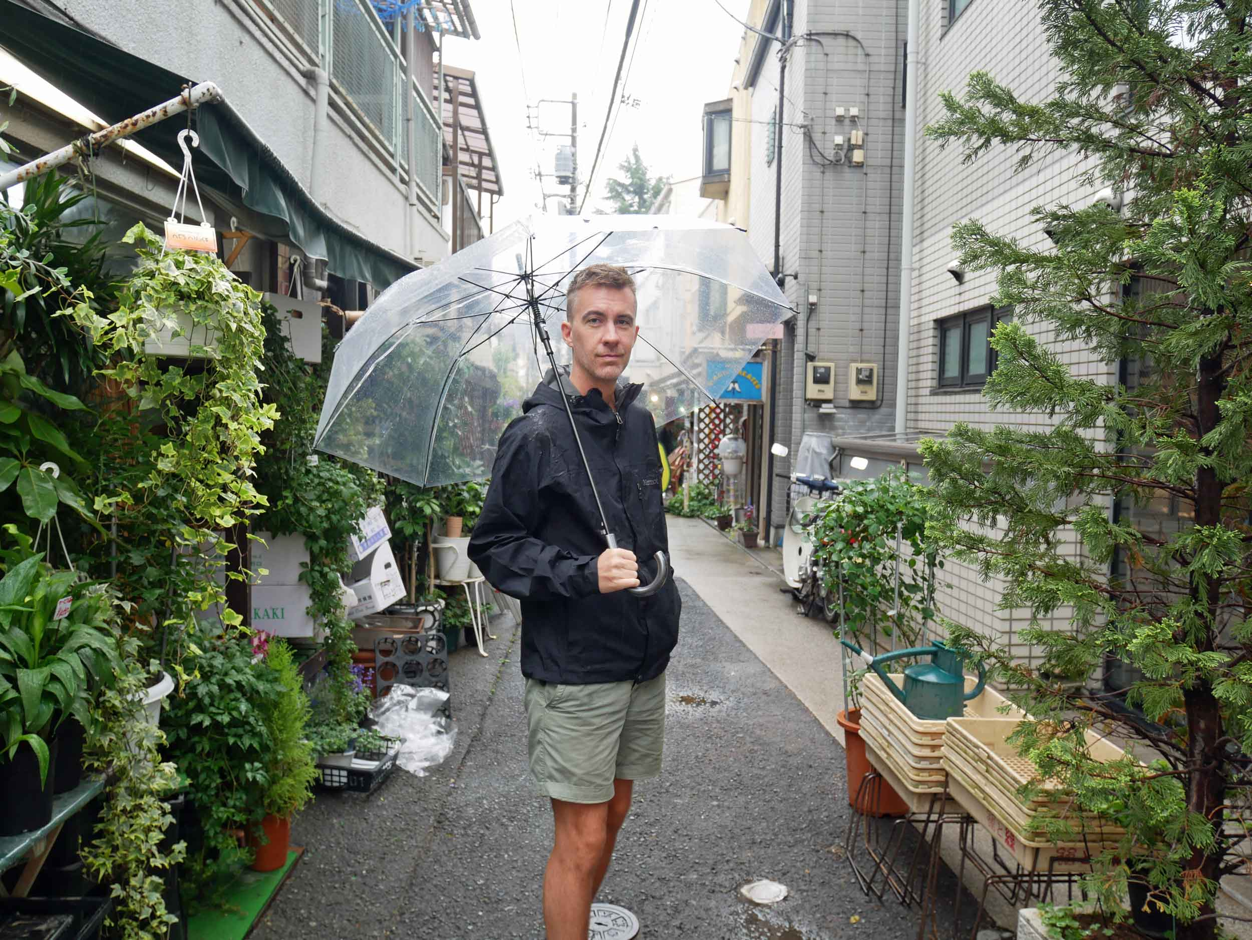 As the rain began to come down, clear umbrellas appeared all across town, so we had to get a pair ourselves!