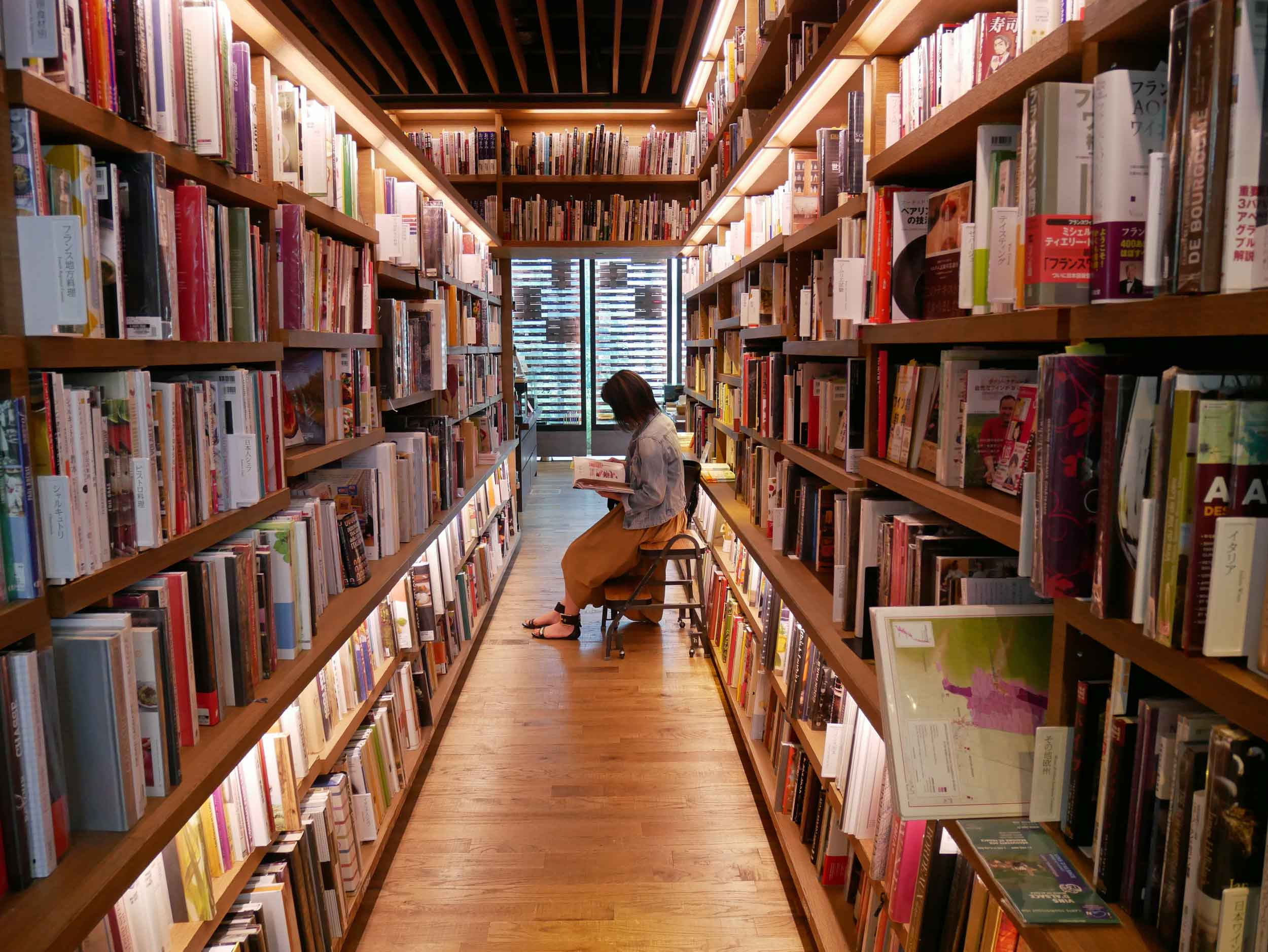 The tranquil rows of books inside Daikanyama T-Site.