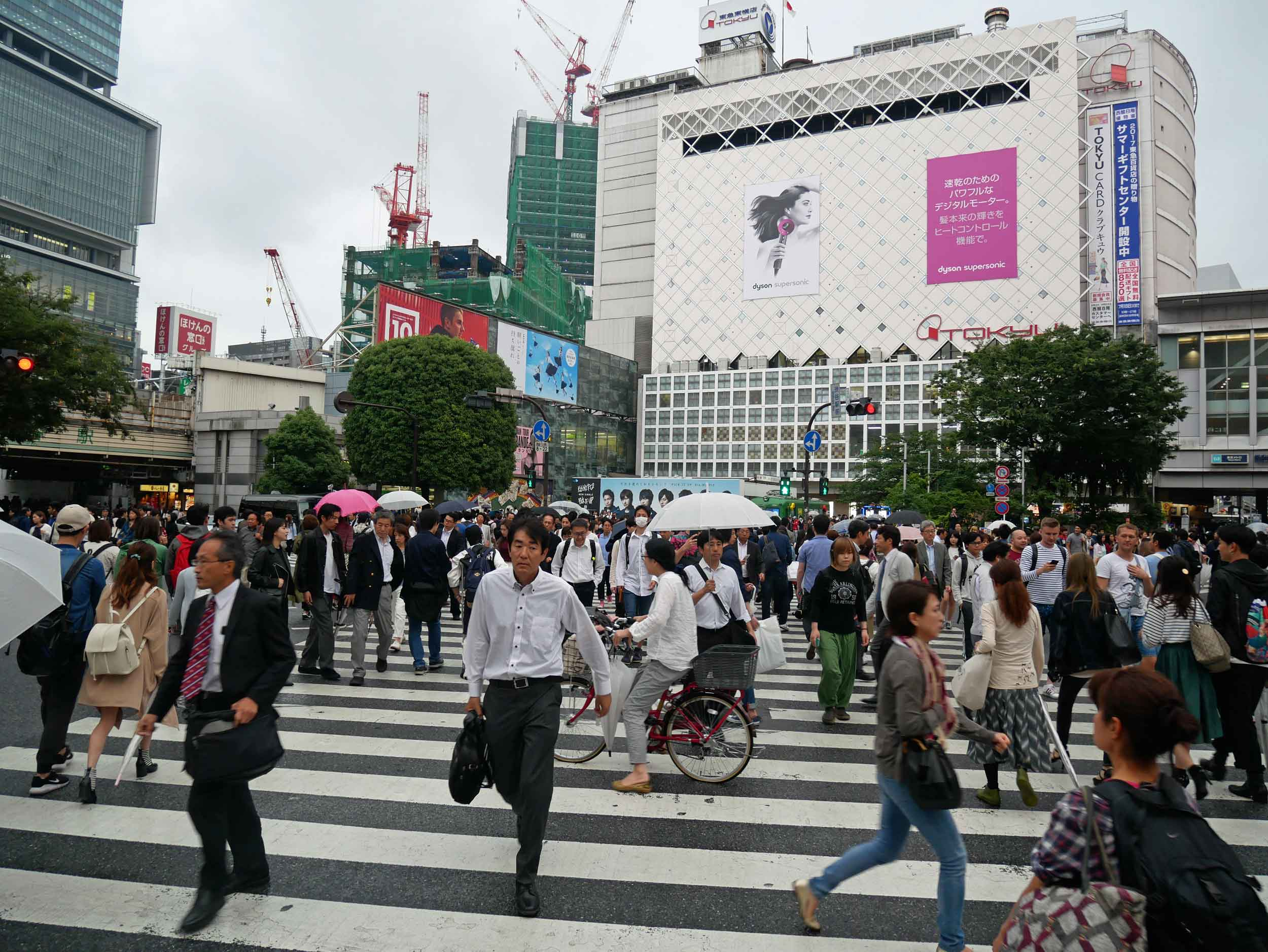 Making our way back through busy Shibuya Crossing in time for evening rush hour.