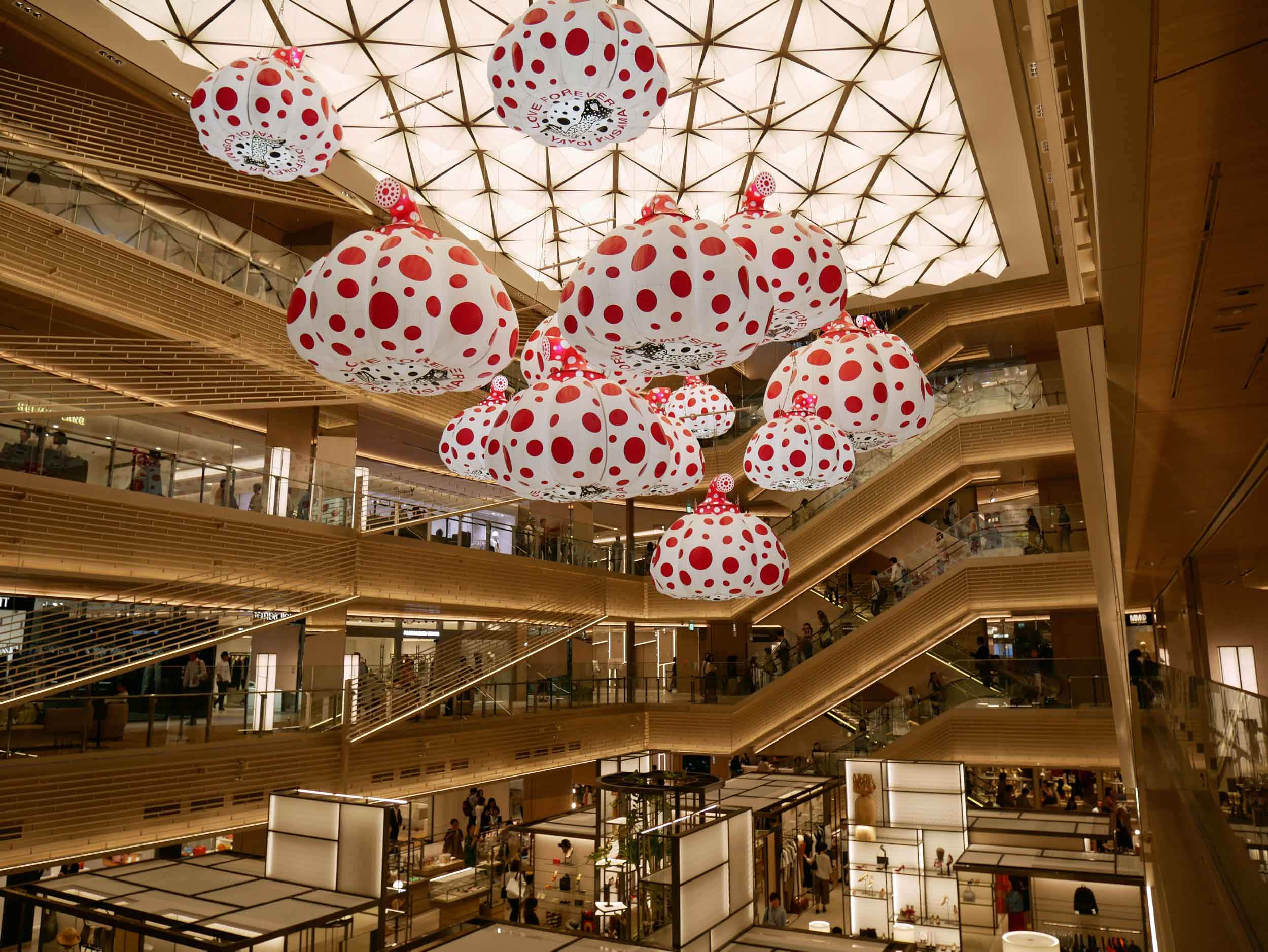 The hot new shopping in Tokyo is at Ginza Six, which featured Japanese artist Yayoi Kusama's surreal giant pumpkins.