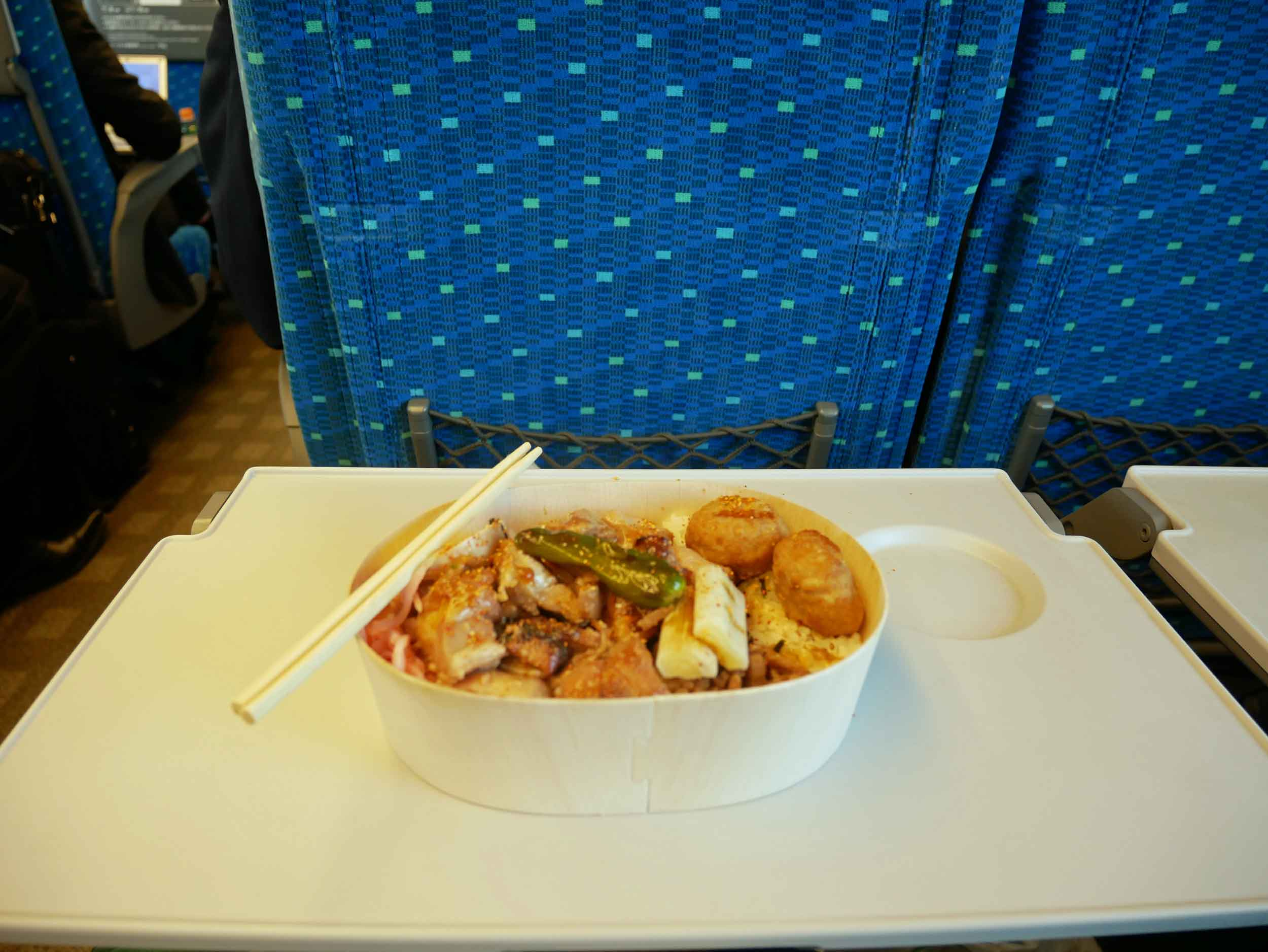 Bento to-go, our breakfast of champions on the train journey.