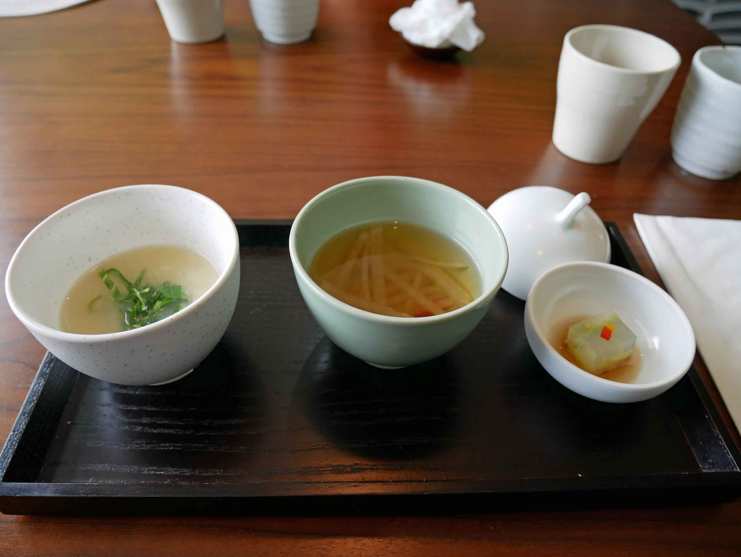 We opted for the tasting menu - so hang on to your robes! First up, the  suljuksim , or amuse-bouche, of cucumber jelly with seven years aged kelp & persimmon vinegar, and  juksang , or porridge, of potato soup with salted white radish.