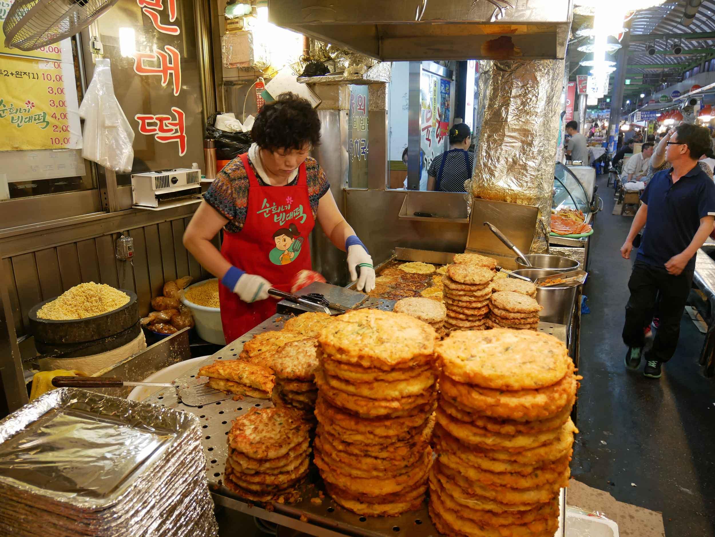 We started with a steaming  Bindae-tteok , or   mungbean pancake.