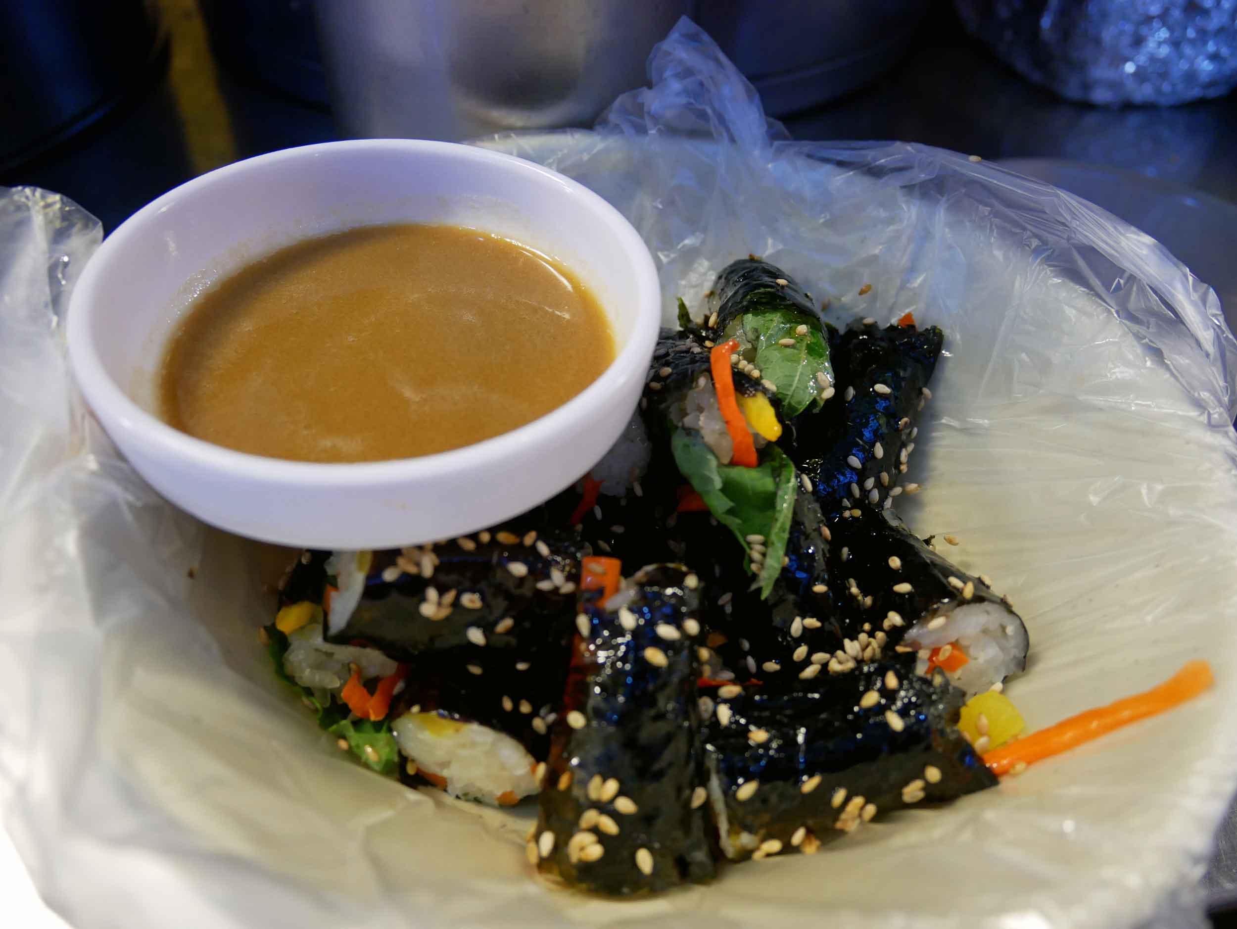 Here, we tried  gimbap , or seaweed rice rolls.