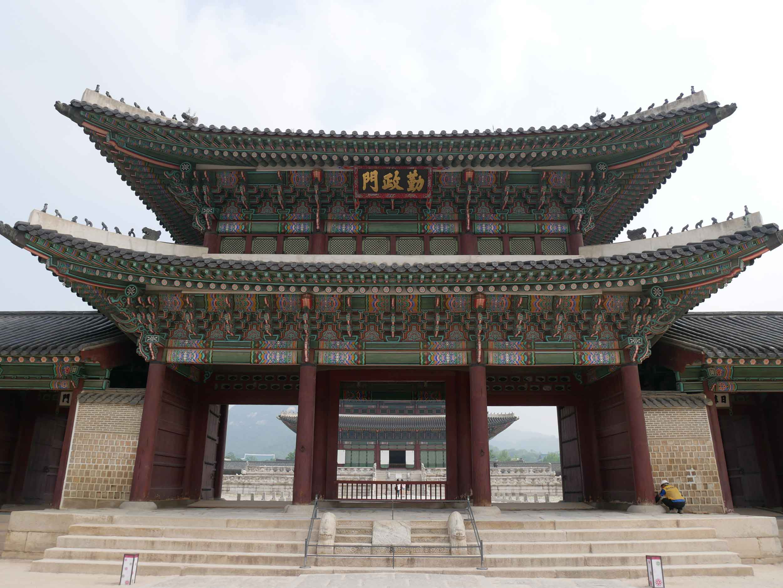 The next morning, we started at the Gyeongbokgung Palace, built in the late 1300s when the Joseon Dynasty capital was moved to Seoul (June 30).