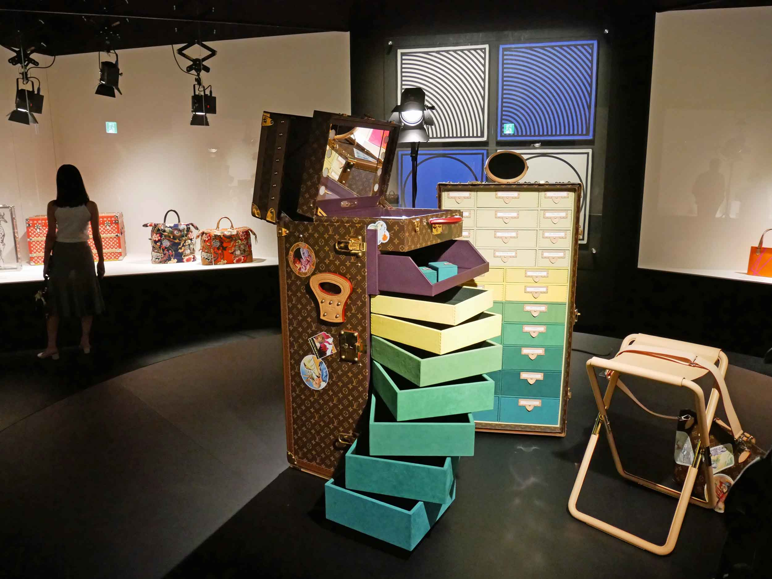 LV enthusiasts travel a little differently on their voyages around the world--no backpacks in this exhibit!