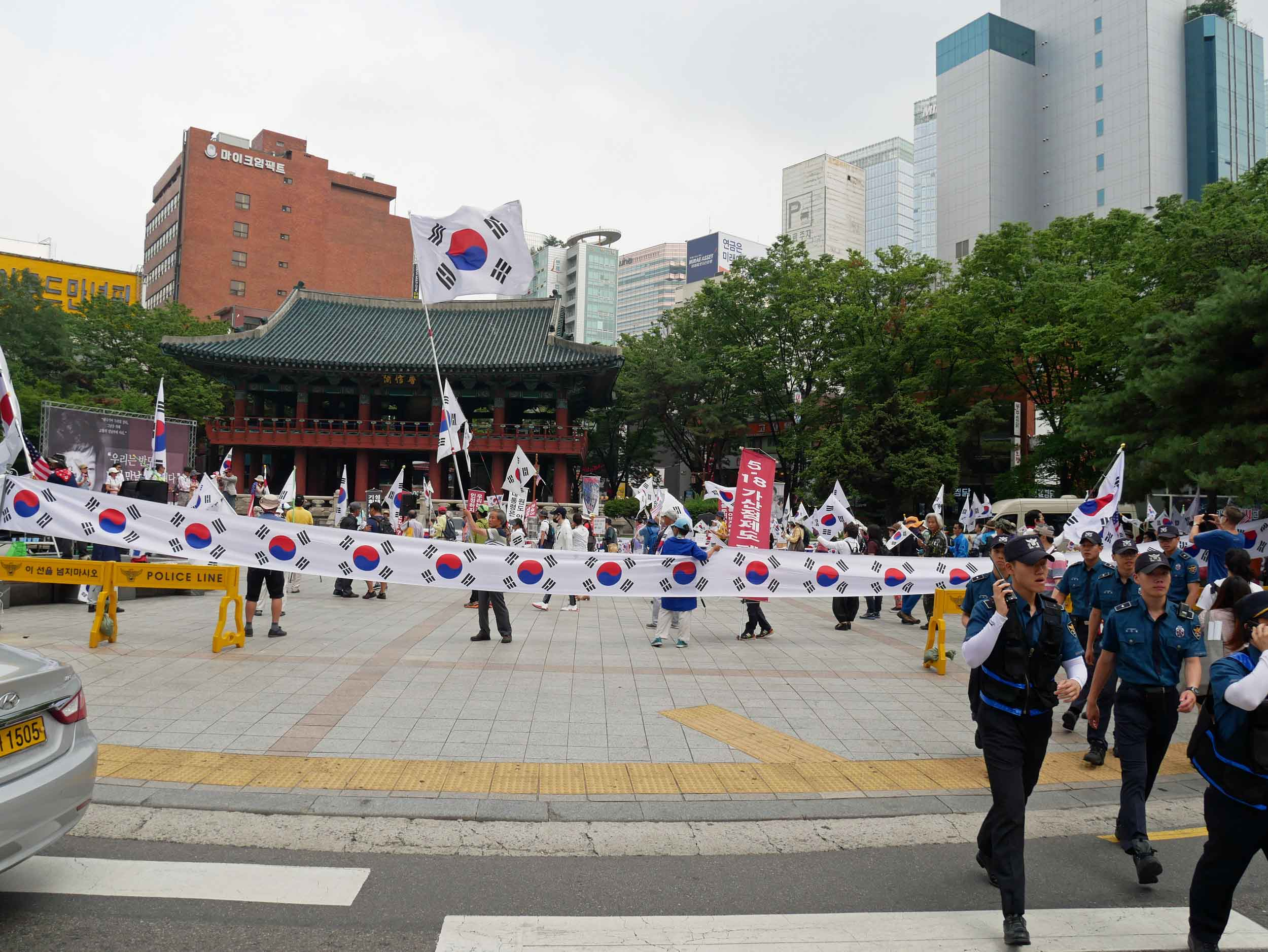 As we walked about the city, we passed a large protest for the release of former South Korean President Park Geun-hye who's on trial for corruption.