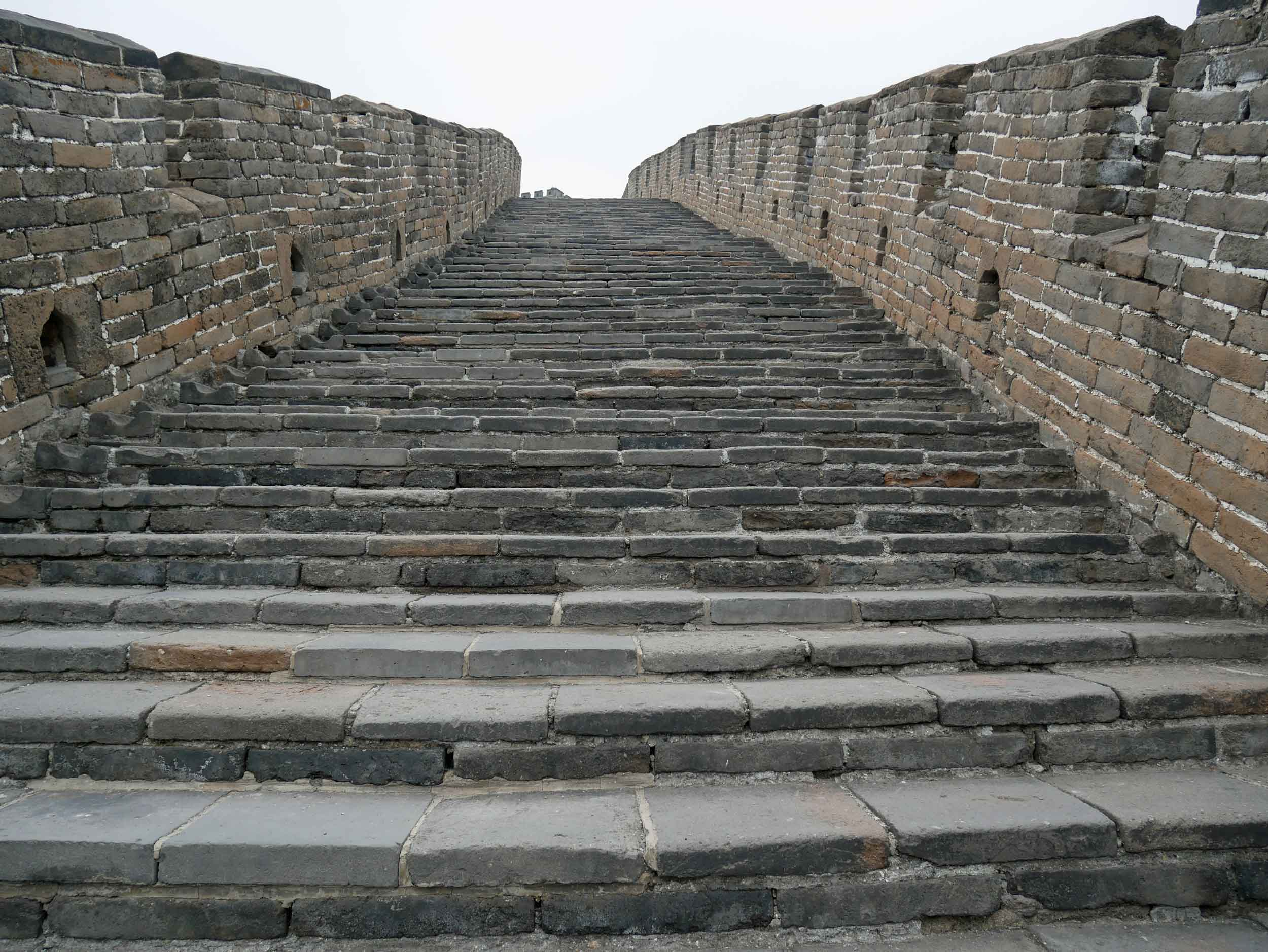 The ancient steps that lead up the many inclines and descents of the Wall.